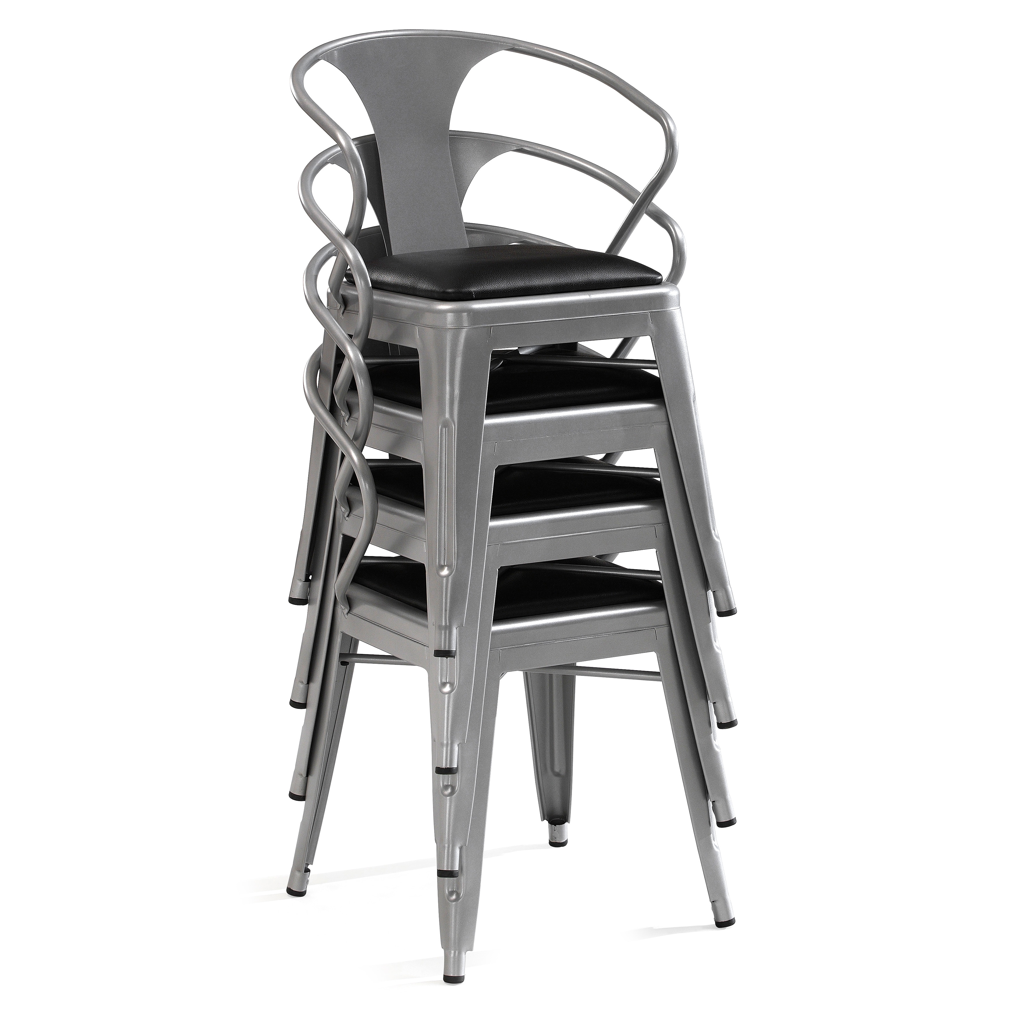 Padded Silver Tabouret Stacking Chairs (Set Of 4)   Free Shipping Today    Overstock.com   15069552