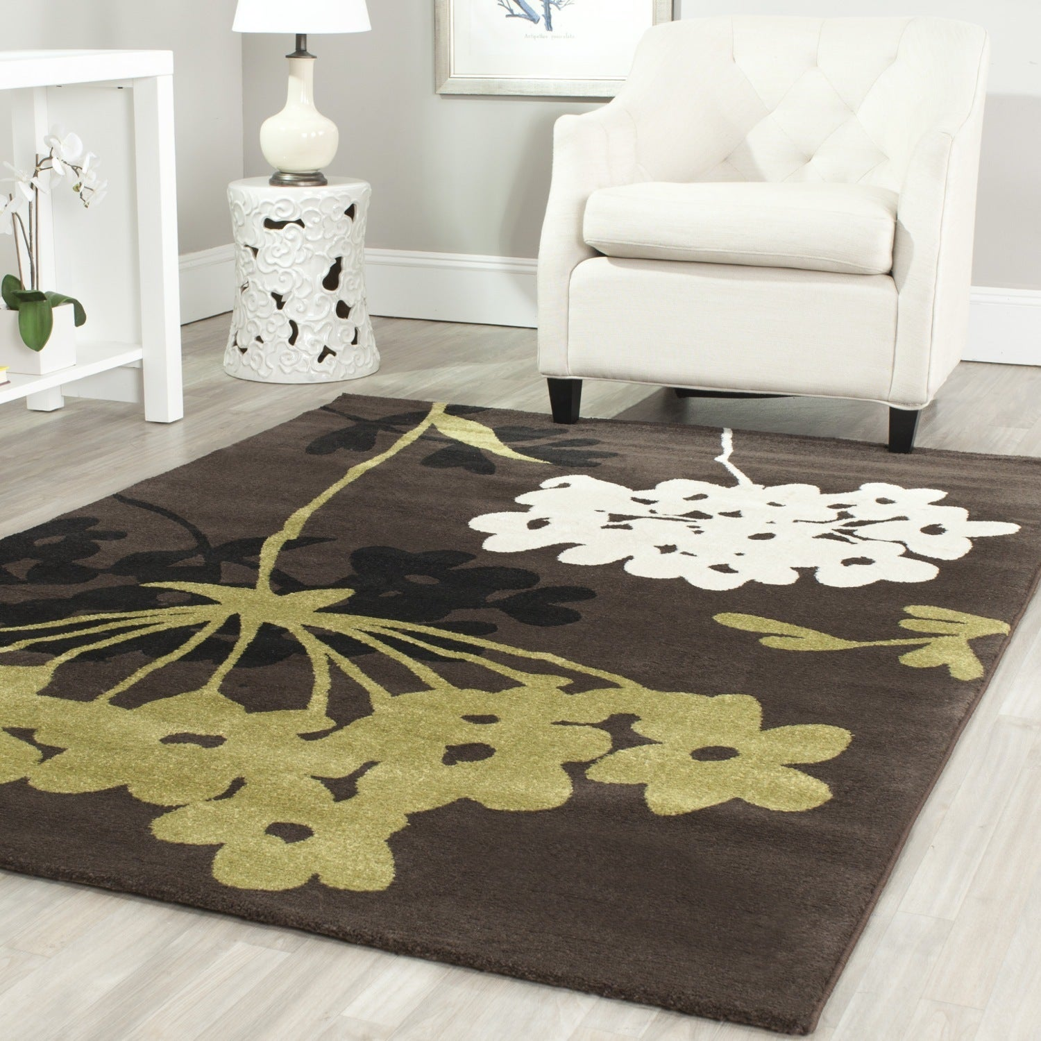 lamp combined brown room rugs design ceramic light above livings table pattern chic shade with under black pendant white tiled dining for rectangle rug round living furniture shabby set elegant and flooring rustic flower
