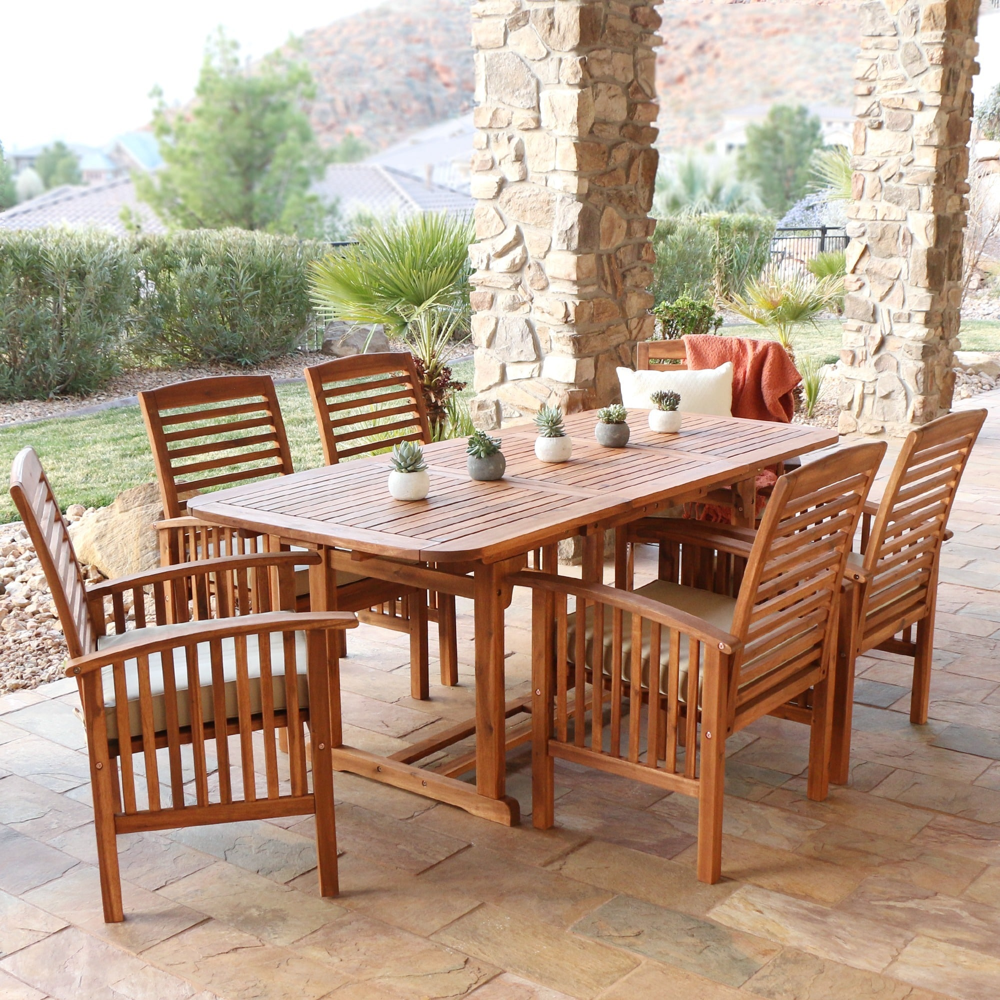 7 piece Acacia Wood Patio Dining Set Free Shipping Today