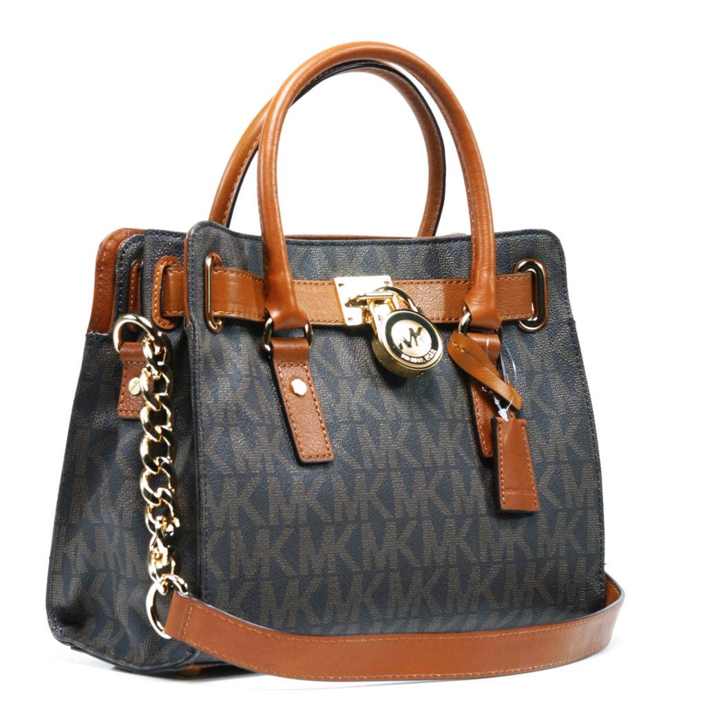 b0efcae4ade7 Shop Michael Kors Hamilton East West Brown Logo Satchel Handbag - Free  Shipping Today - Overstock - 7659728