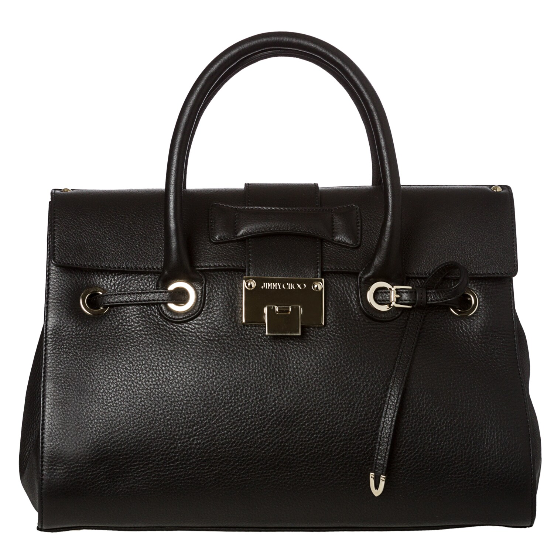 Jimmy Choo Rosalie Black Grainy Leather Satchel Handbag Free Shipping Today 7662481