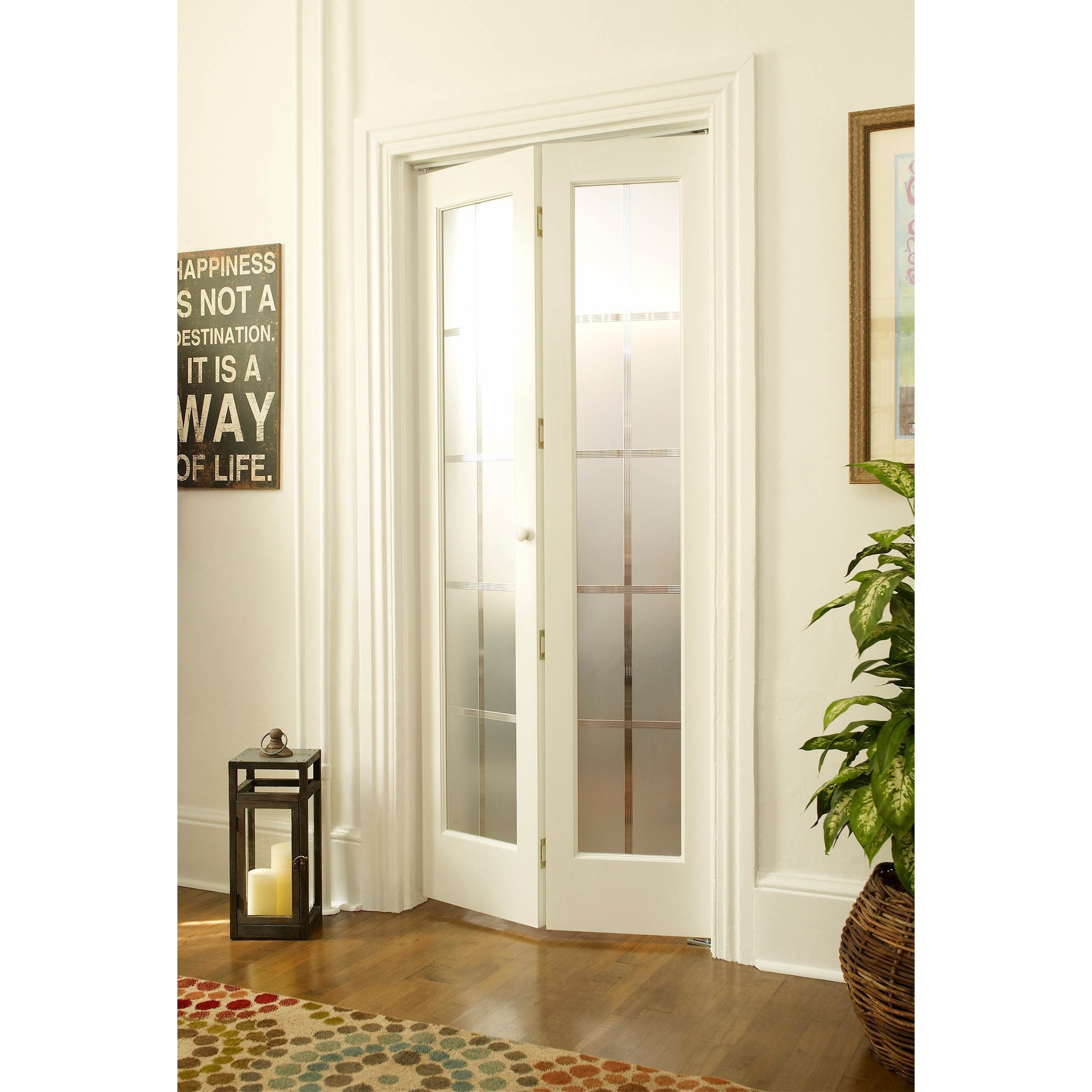 Shop American Wood Mission Frosted Bi Fold Door Free Shipping