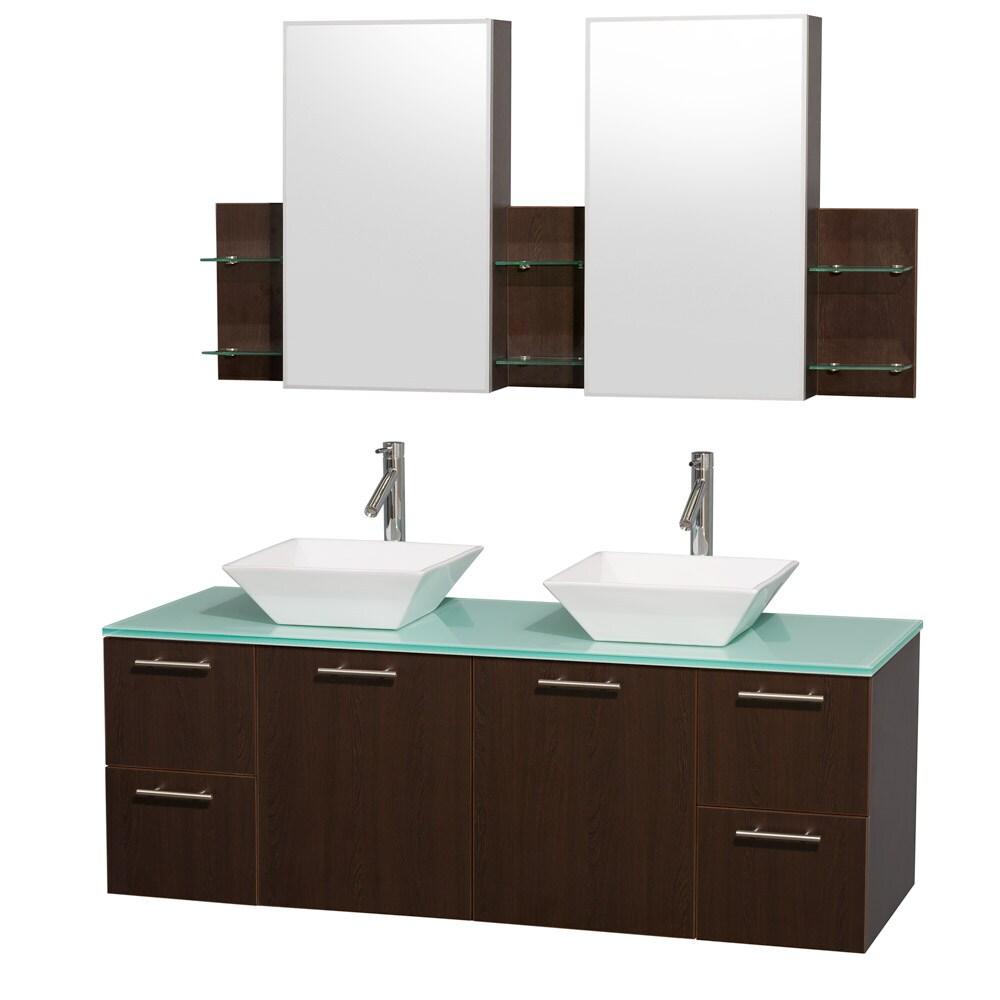 Wyndham Collection \'Amare\' 60-inch Espresso/ Green Top/ White Sink ...