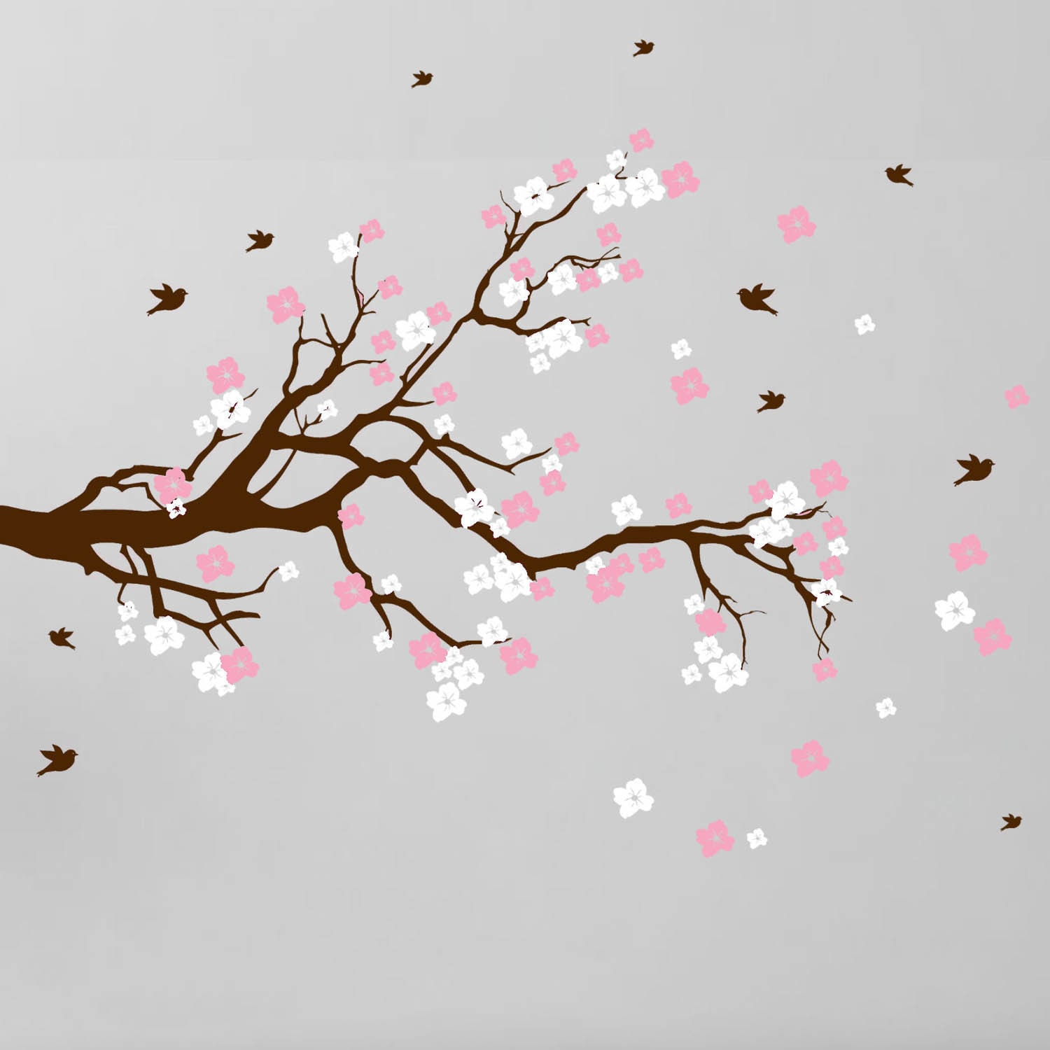 Shop Cherry Blossom Branch With Birds Vinyl Wall Art Decal On