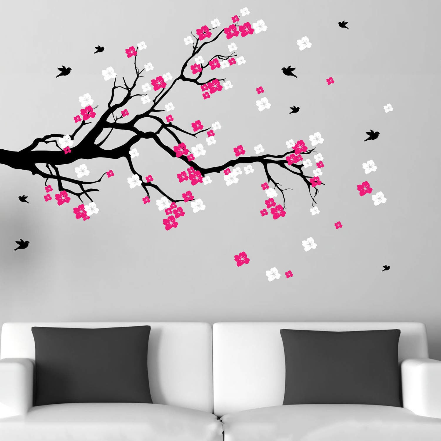Shop Cherry Blossom Branch with Birds Vinyl Wall Art Decal - Free Shipping Today - Overstock.com - 7668420 & Shop Cherry Blossom Branch with Birds Vinyl Wall Art Decal - Free ...