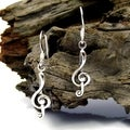 Handmade Sterling Silver Music Treble Clef Dangle Earrings (Thailand)