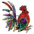 Silvertone Multi-colored Crystal Rooster Brooch