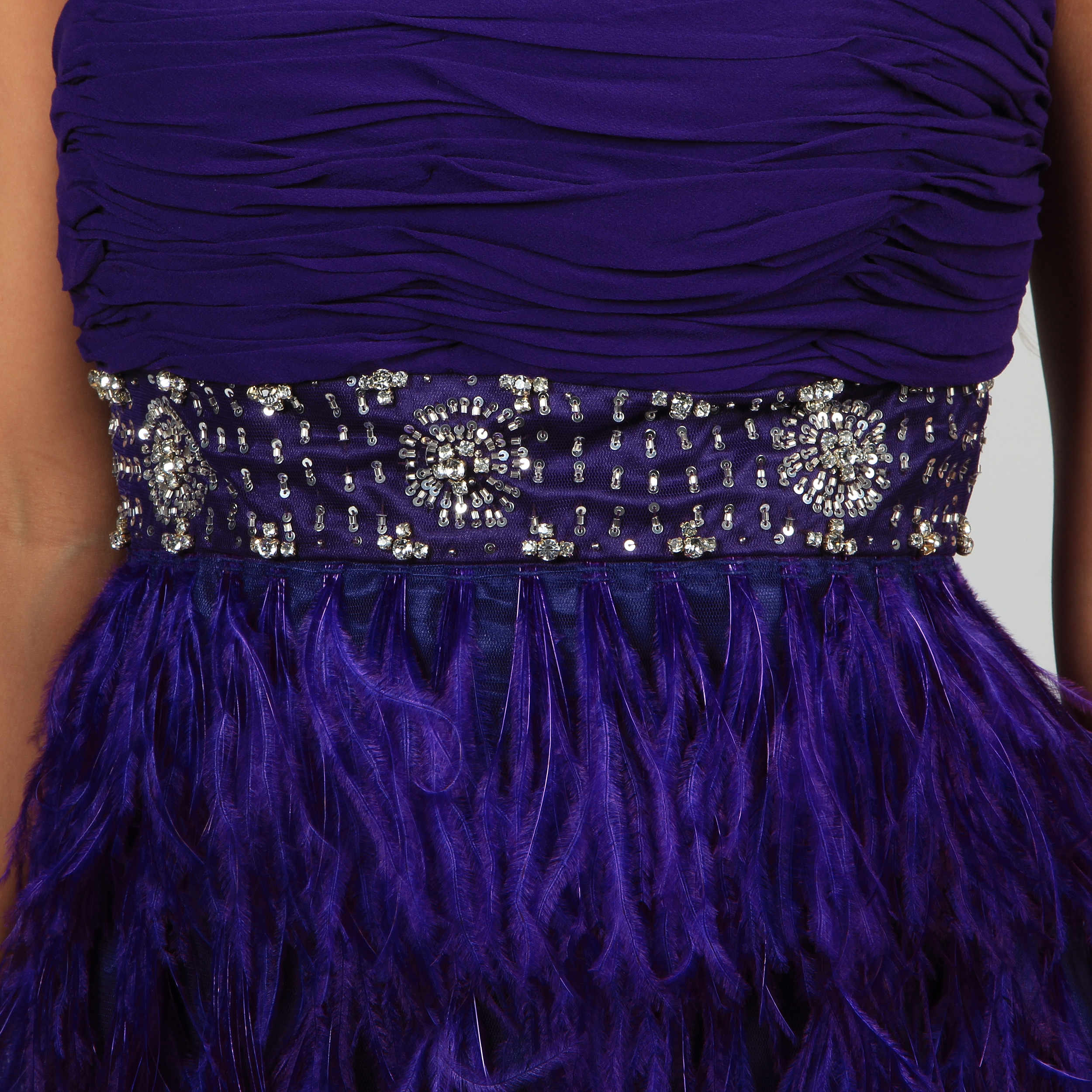 Shop Issue New York Women\'s Strapless Feather Trimmed Sequin Evening ...