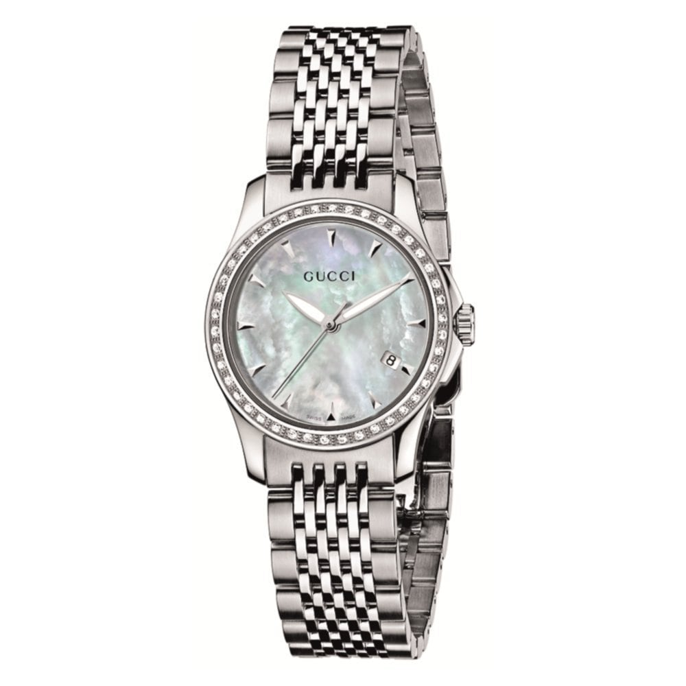 a8406b79b08 Shop Gucci Women s G-Timeless Diamond Bezel Mother of Pearl Dial Watch -  Free Shipping Today - Overstock - 7683056