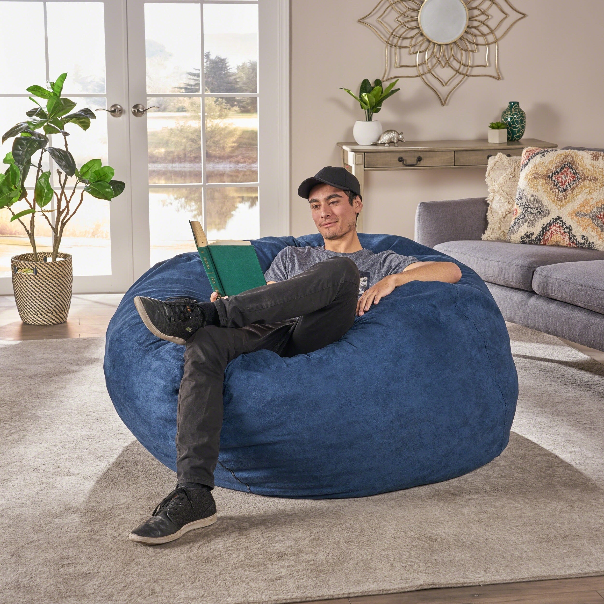 Madison Faux Suede 5 Foot Lounge Beanbag Chair By Christopher Knight Home On Free Shipping Today 7683973