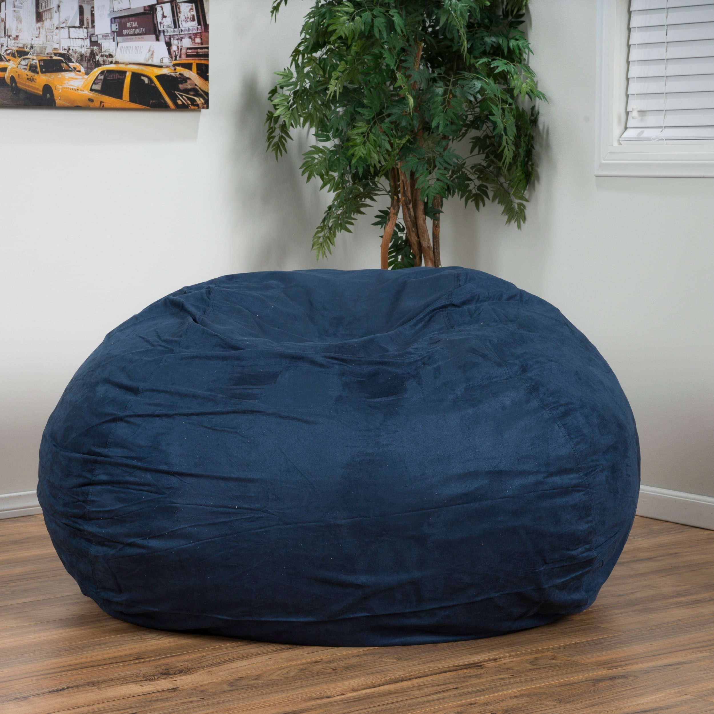 Madison Faux Suede 5-foot Lounge Beanbag Chair by Christopher Knight Home -  Free Shipping Today - Overstock.com - 15093470
