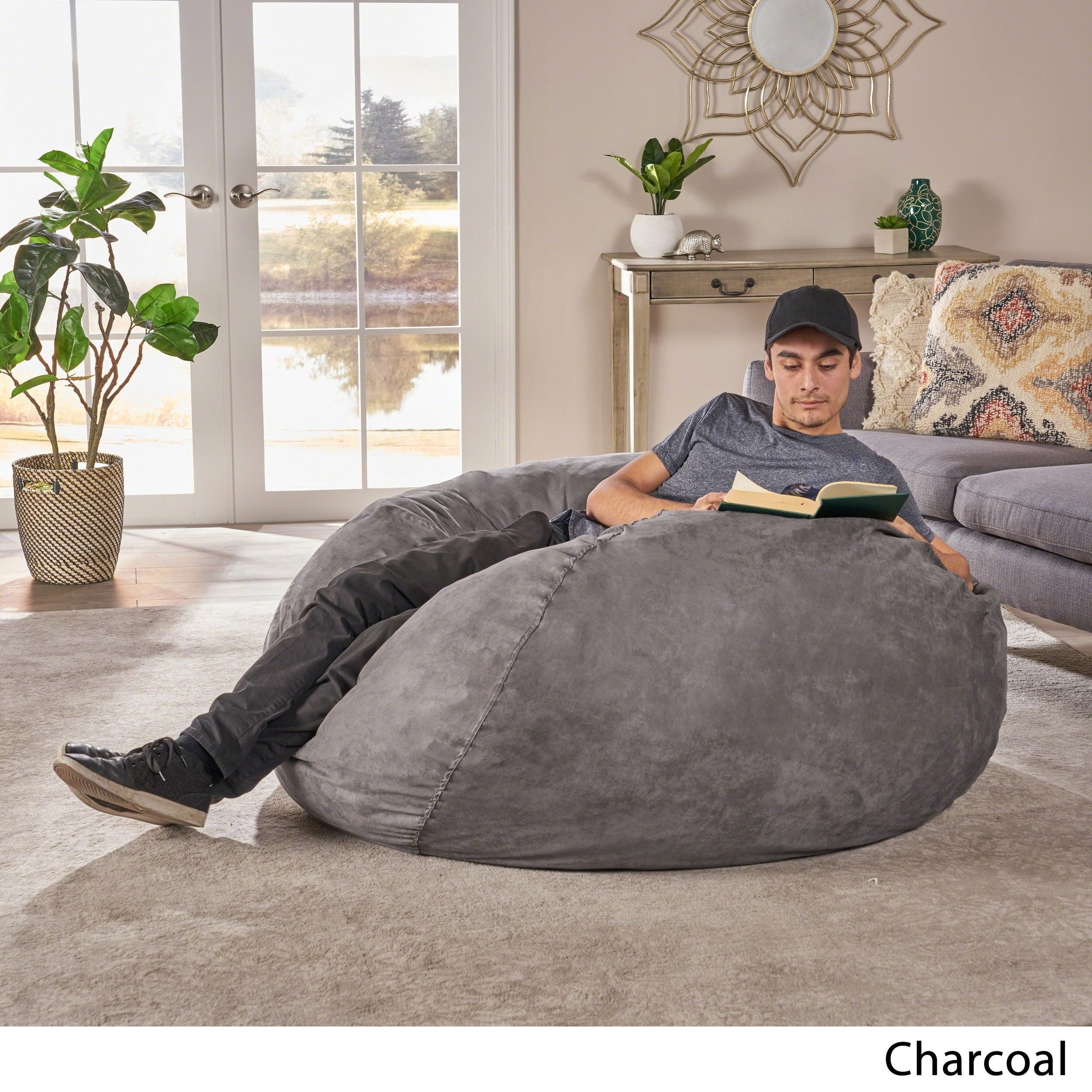 5a589b6703ff Shop Madison Faux Suede 5-foot Lounge Beanbag Chair by Christopher Knight  Home - Free Shipping Today - Overstock - 7683973