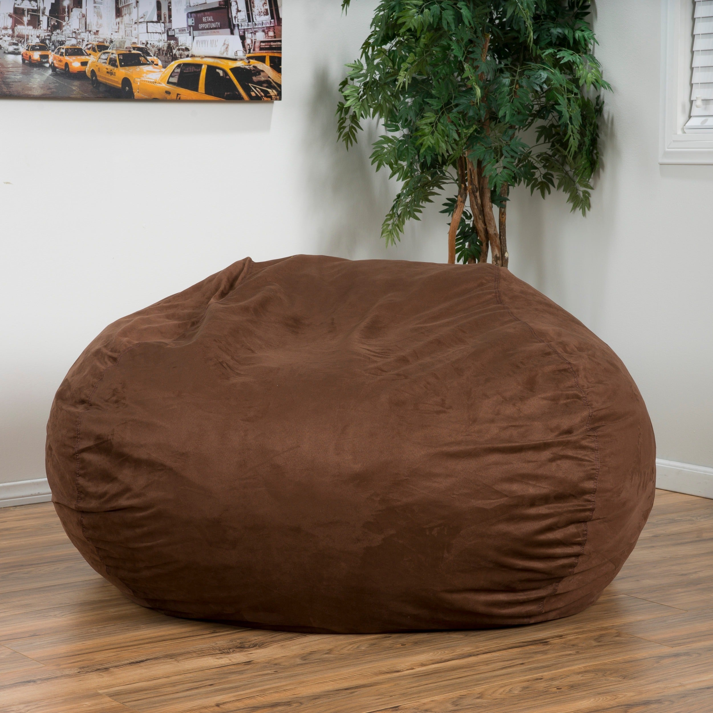 Madison Faux Suede 5 Foot Lounge Beanbag Chair By Christopher Knight Home    Free Shipping Today   Overstock   15093470