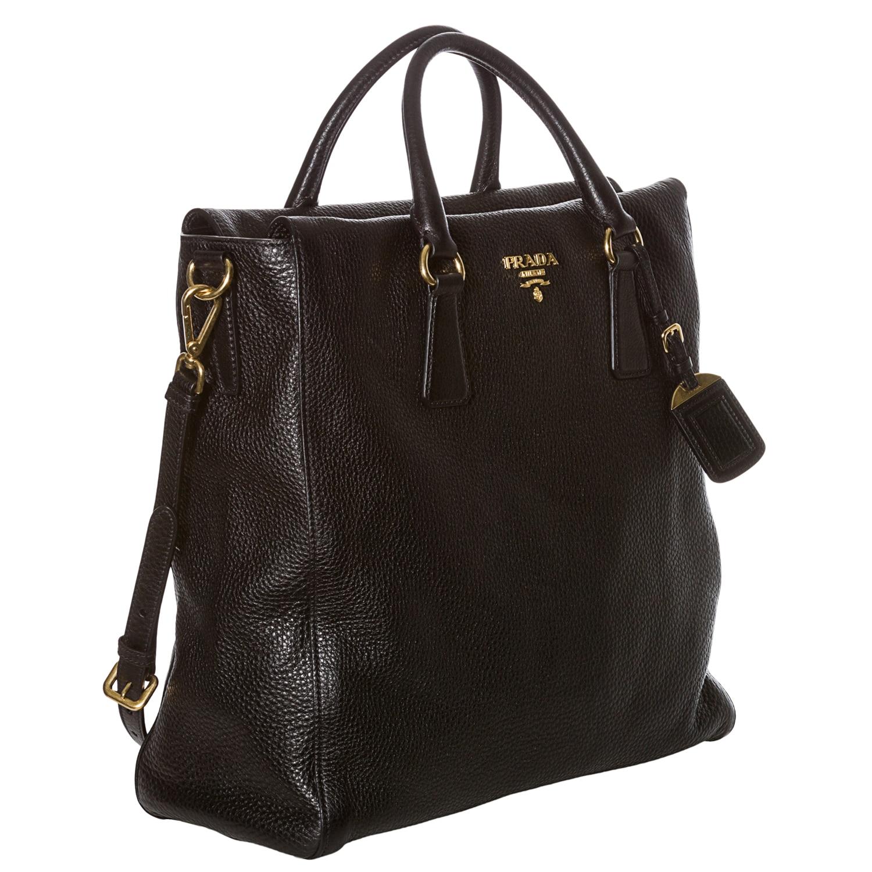 free shipping prada vitello daino black leather north south tote bag free  shipping today overstock 15094295 4b2d398521