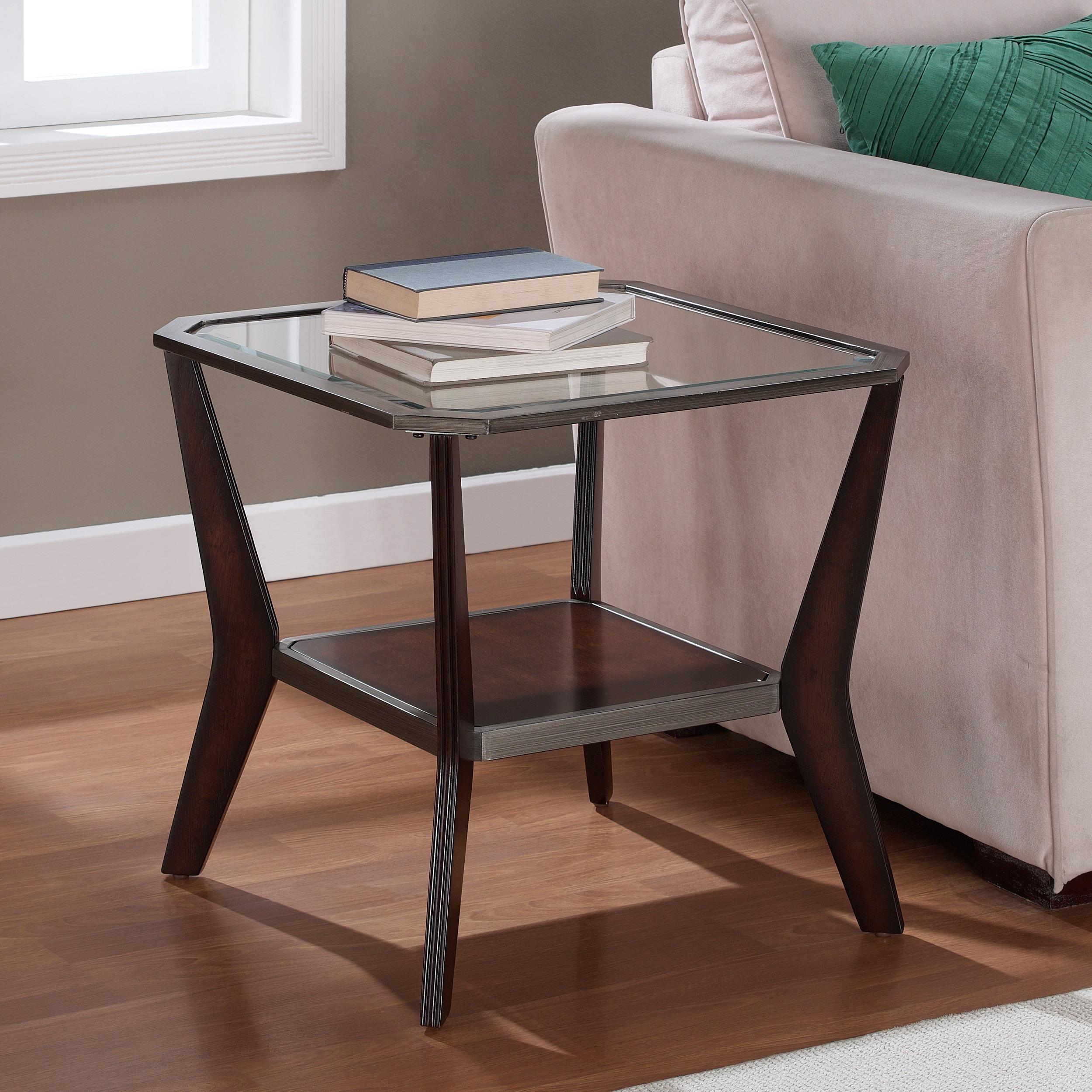 Shop Clay Alder Home Boomerang Espresso/ Antique Silver End Table   Free  Shipping Today   Overstock.com   7685141