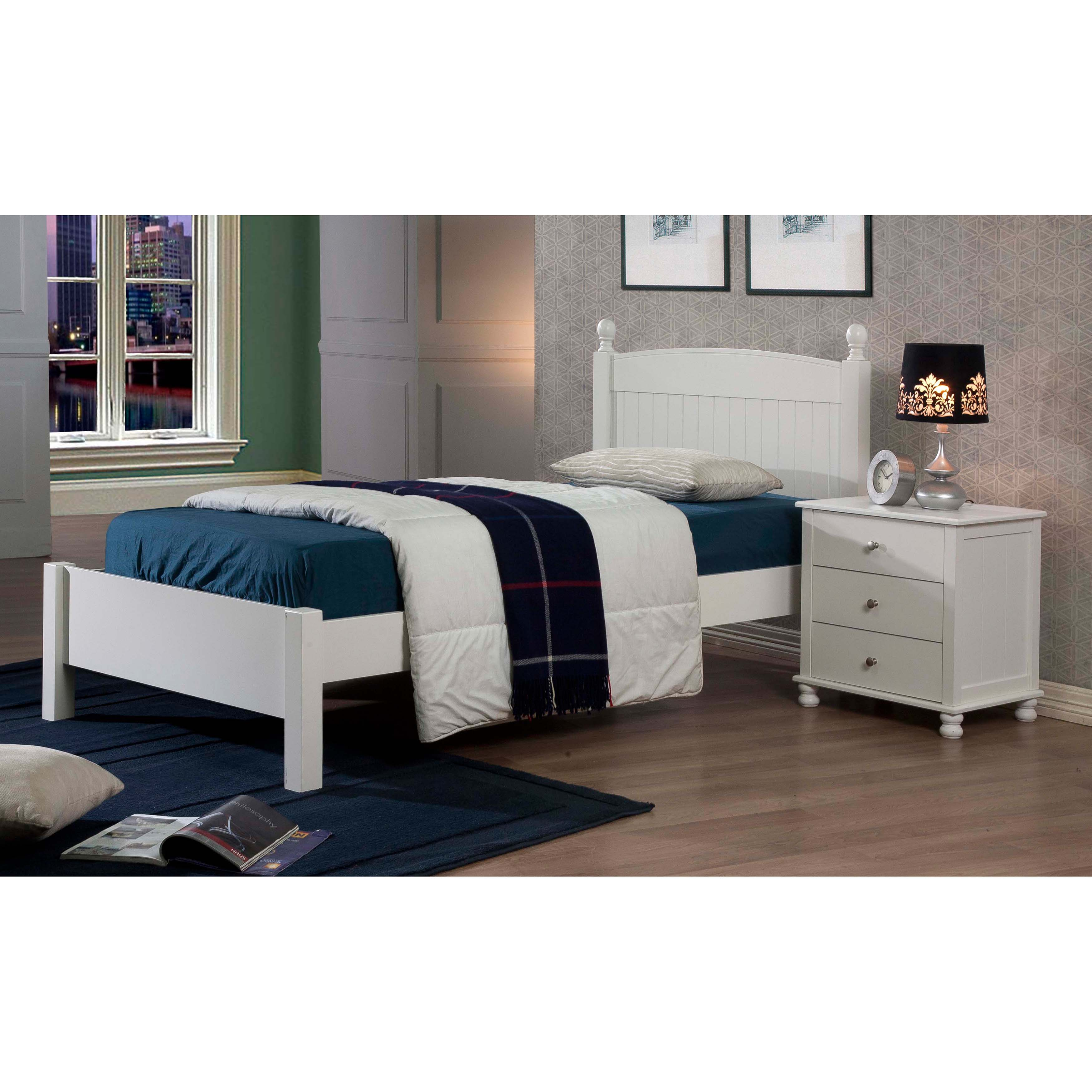 Shop Anderson White Finish Twin Bed   Free Shipping Today   Overstock.com    7687149