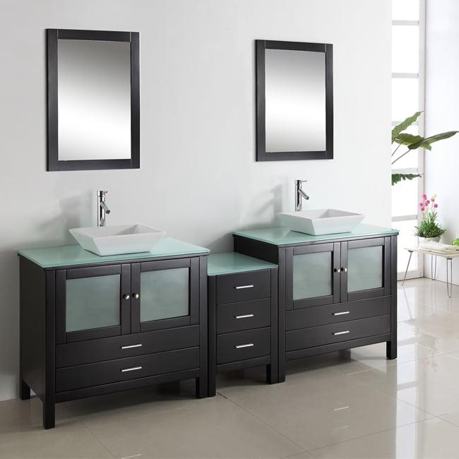 Shop Hilford Inch Doublesink Bathroom Vanity Set Free Shipping - 90 inch bathroom vanity
