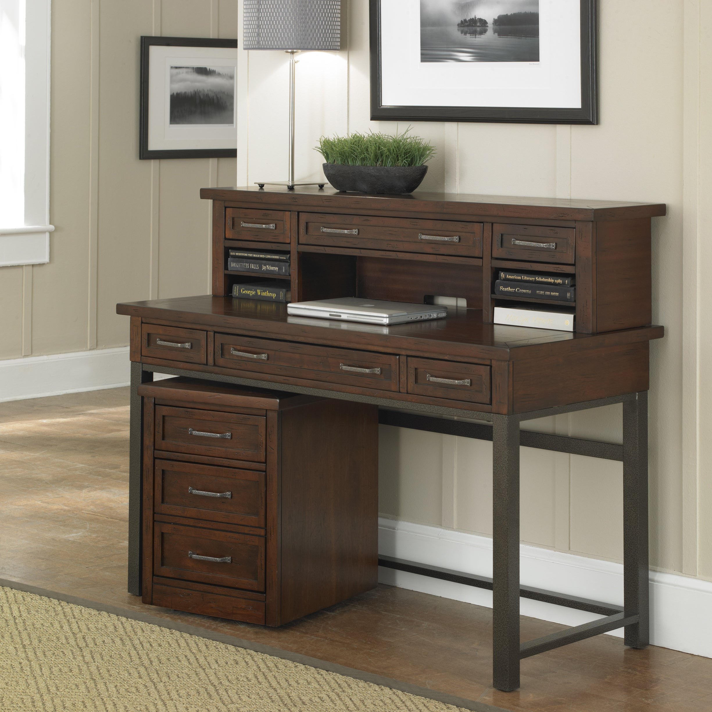 home office cherry wall desk and creek hooker furniture hutch iteminformation