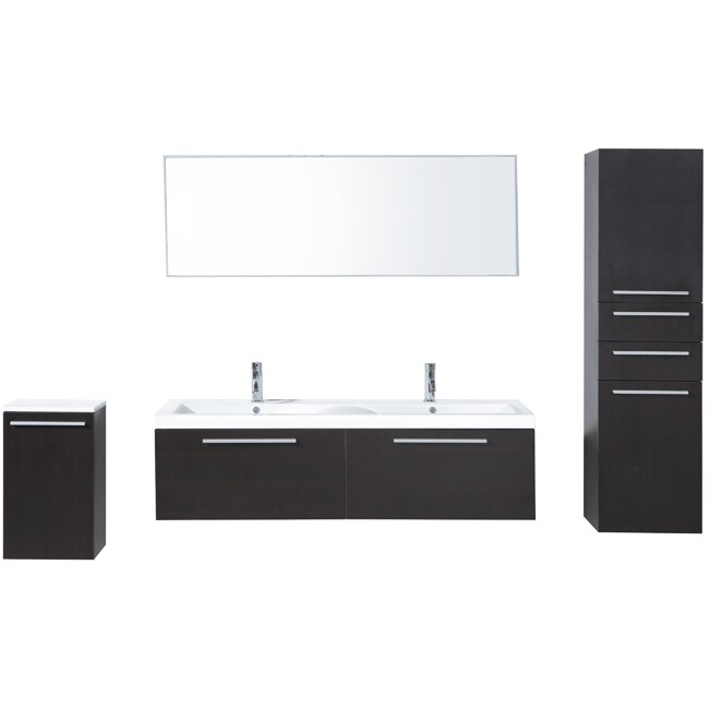 Shop Brianna 57 Inch Double Sink Bathroom Vanity Set   Free Shipping Today    Overstock.com   7707385