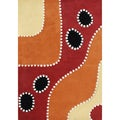 Alliyah Handmade Flame Orange New Zealand Blend Wool Rug (5 x 8)
