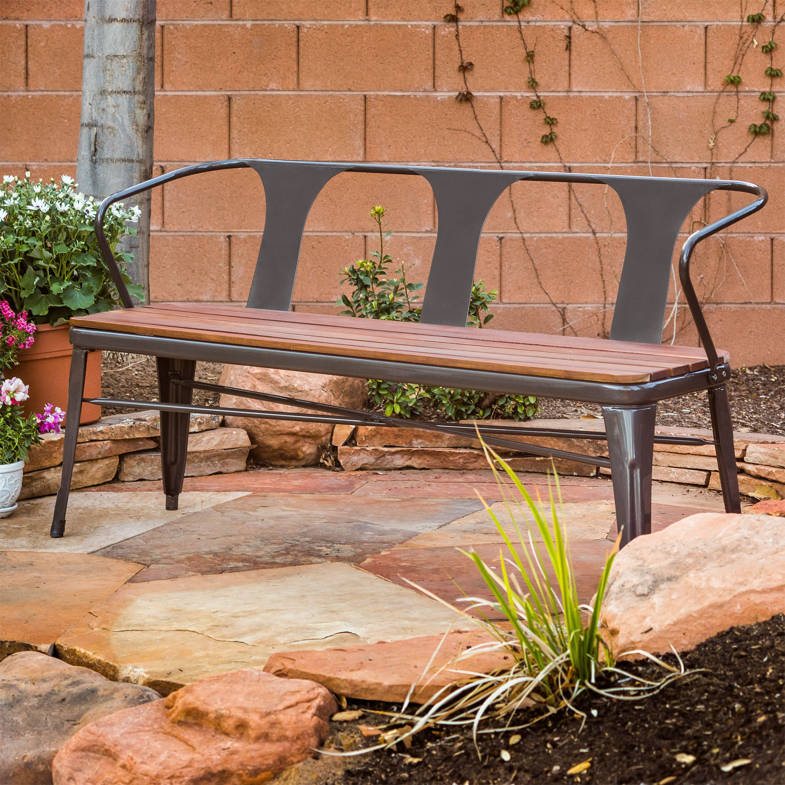 in co seat wooden uk garden duty amazon bench outdoors heavy solid companion outdoor dp hardwood