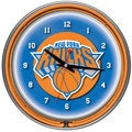 New York Knicks NBA Chrome Double Neon Clock