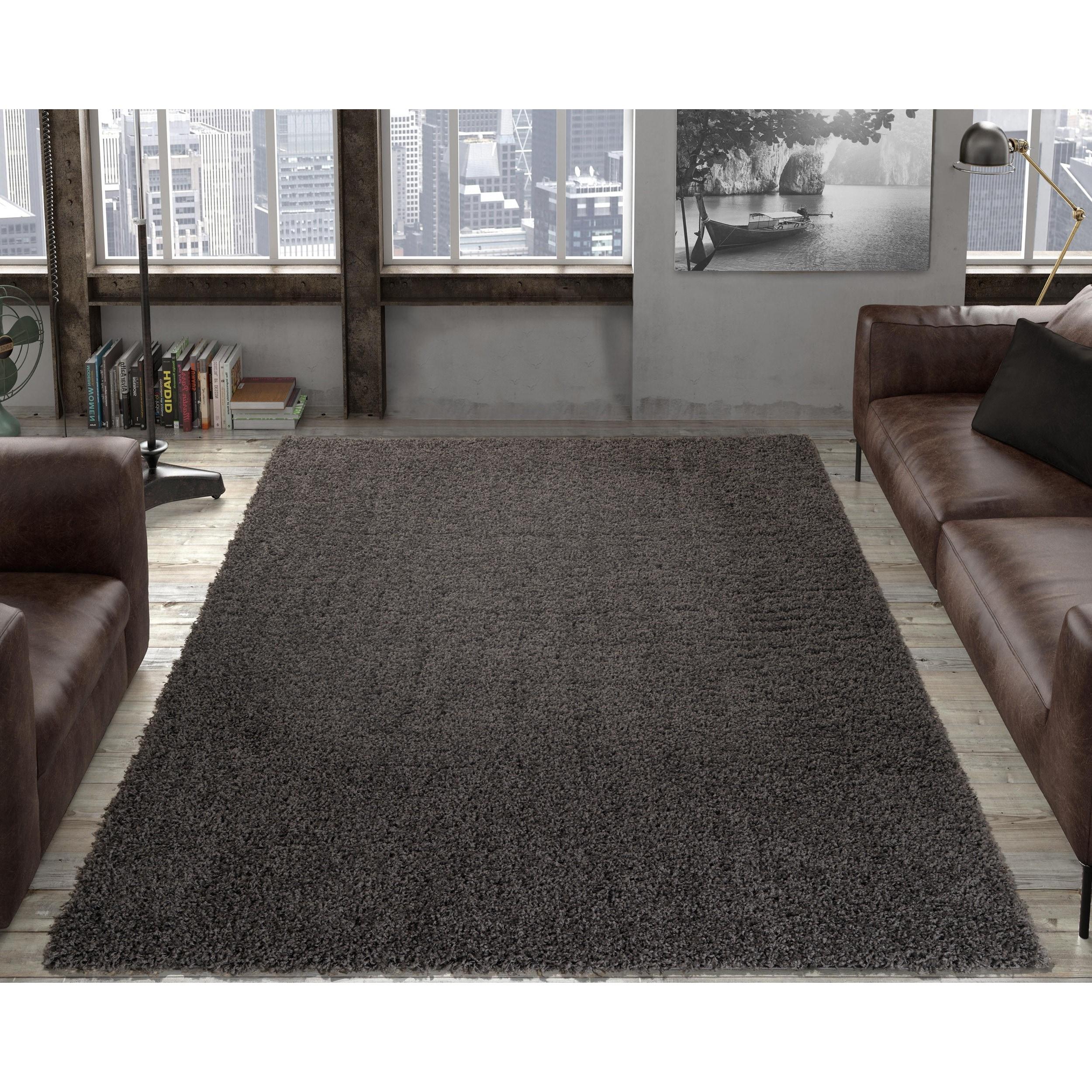 Ottomanson cozy solid color contemporary soft shag area rug
