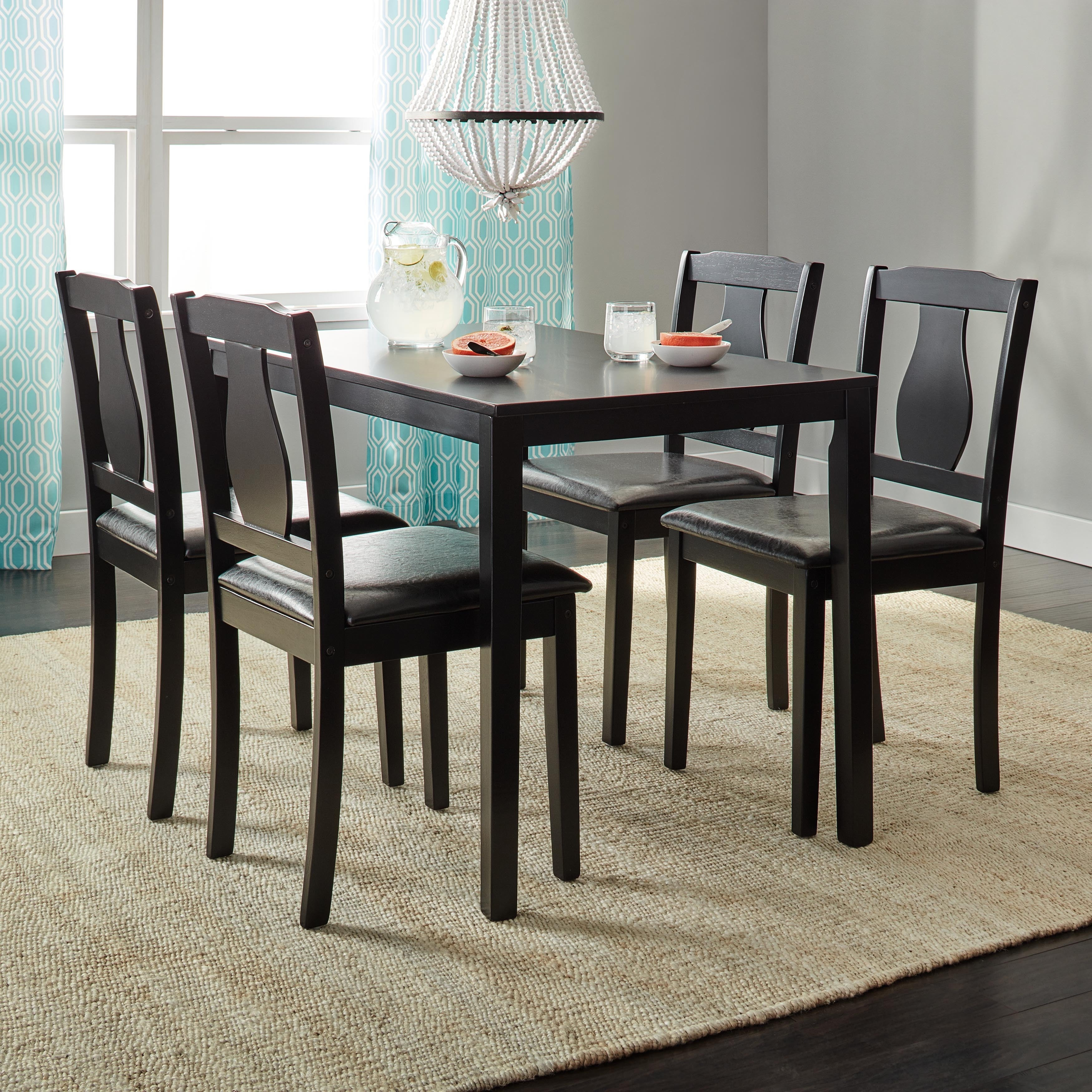 shop simple living black 5 piece kaylee dining set free shipping rh overstock com simple dining room table decor simple dining room table design