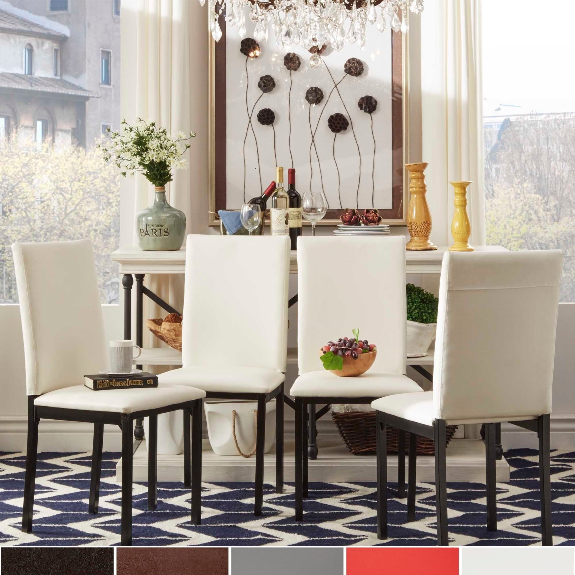 Shop darcy metal upholstered dining chair set of 4 by inspire q bold on sale free shipping today overstock com 7719681