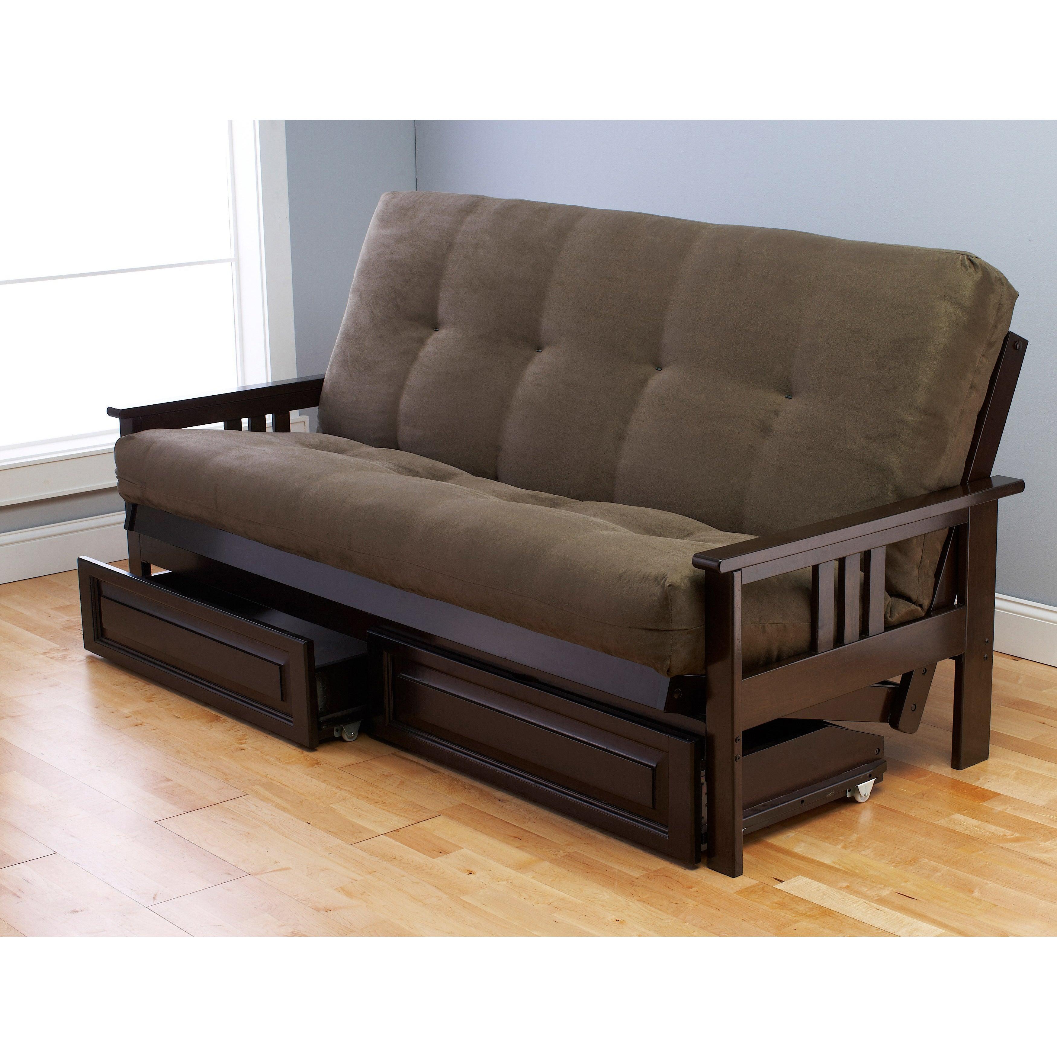 Beau Porch U0026 Den DeSoto Espresso Full Size Wood Storage Futon With Mattress