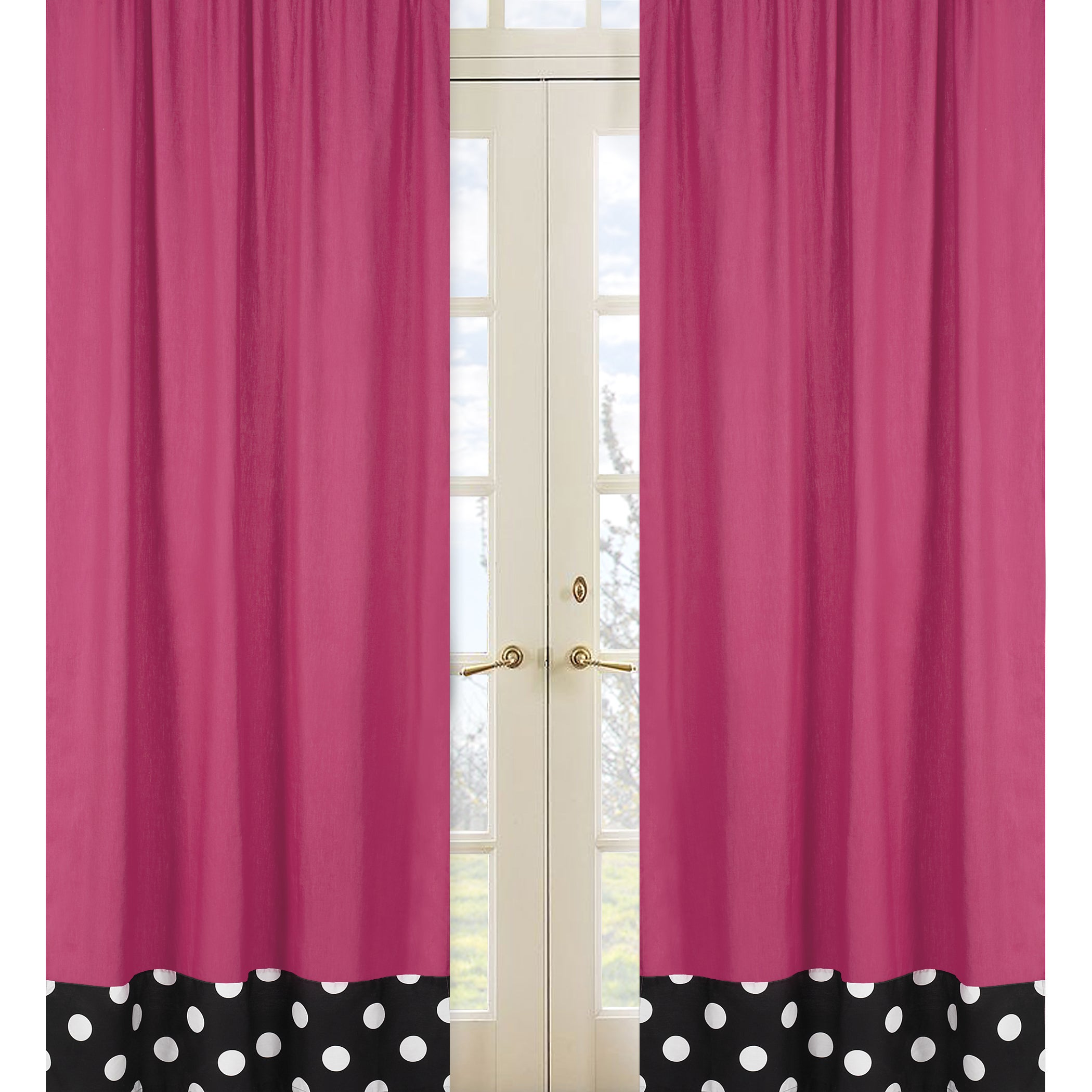 Sweet Jojo Designs Hot Pink Black And White 84 Inch Window Treatment Curtain Panel Pair For Dot Collection 42 X Free Shipping Today