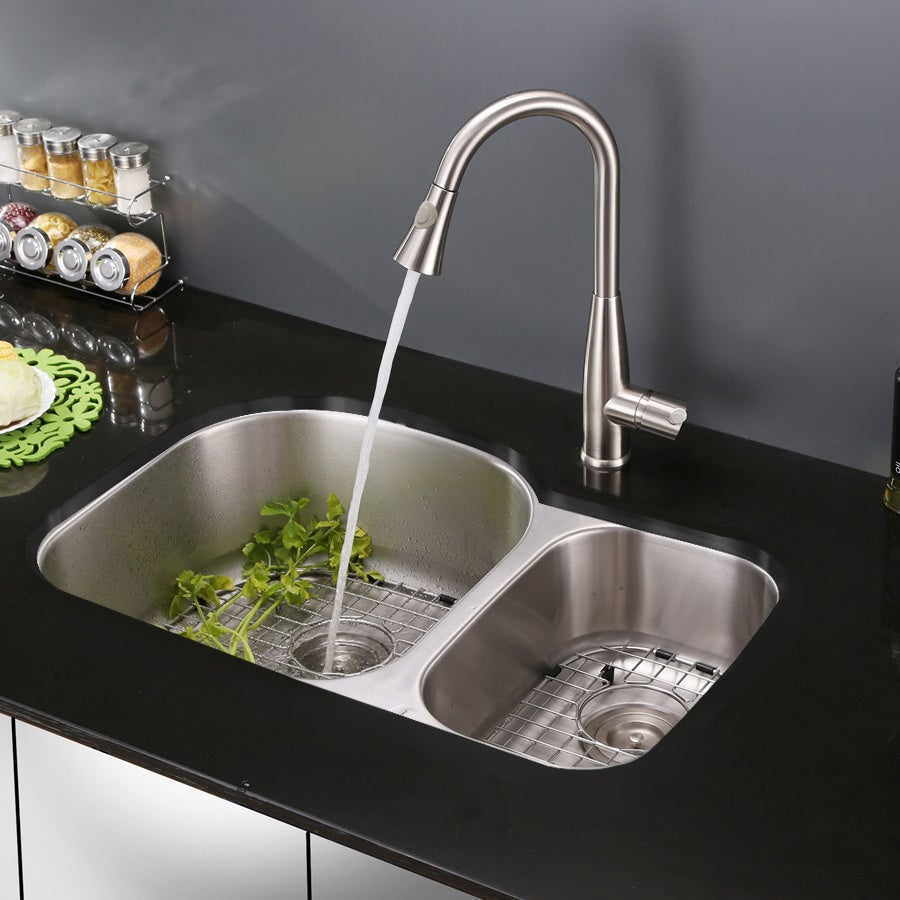 Shop Ruvati RVF1228ST Stainless Steel Pullout Spray Kitchen Faucet ...