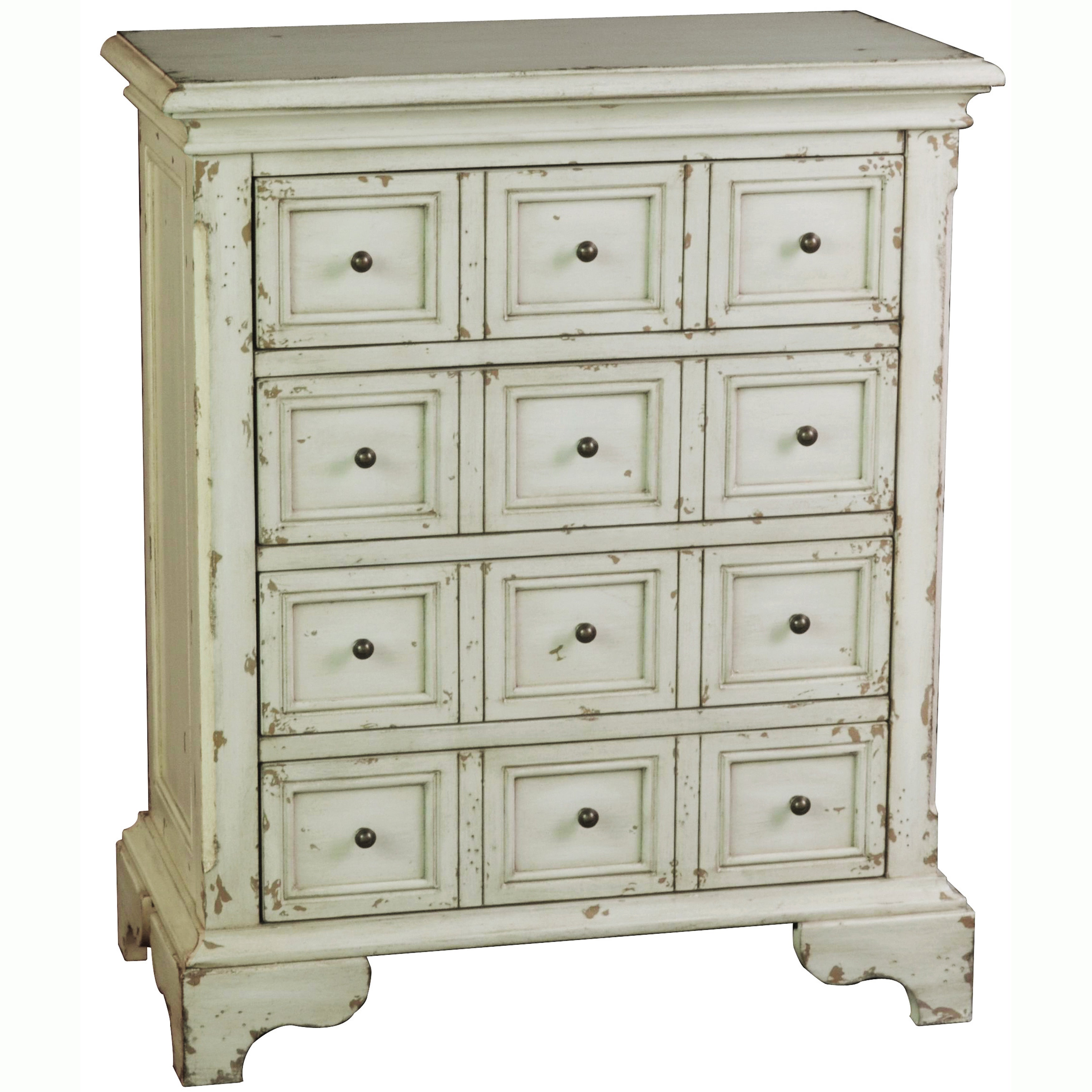 Hand Painted Distressed Antique White Finish Accent Chest On Free Shipping Today 7728565