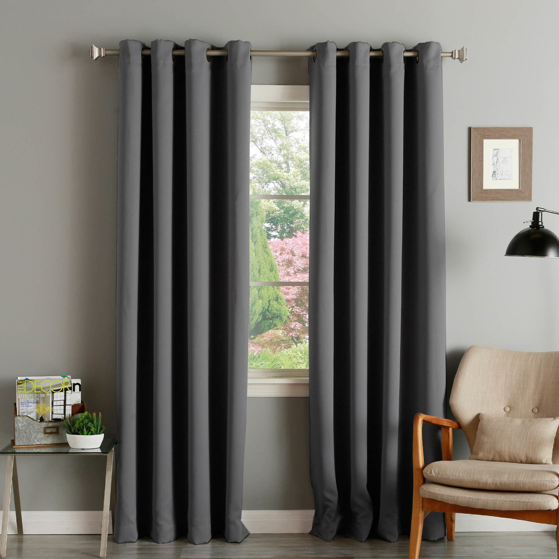 Shop Aurora Home Grommet Top Thermal Insulated 120 Inch Blackout Curtain Panel Pair