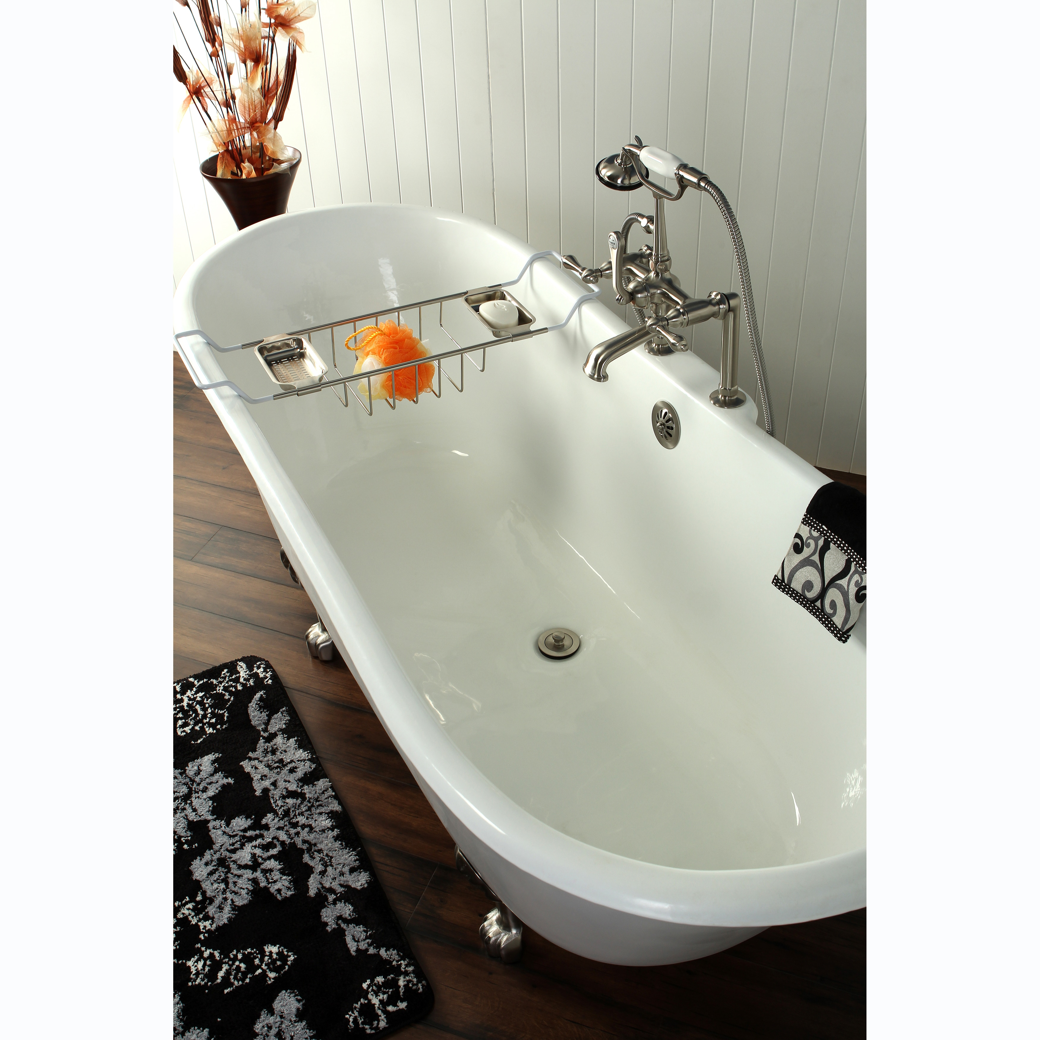 Shop 67 Inch Cast Iron Double Slipper Clawfoot Bathtub   Free Shipping  Today   Overstock.com   7729144