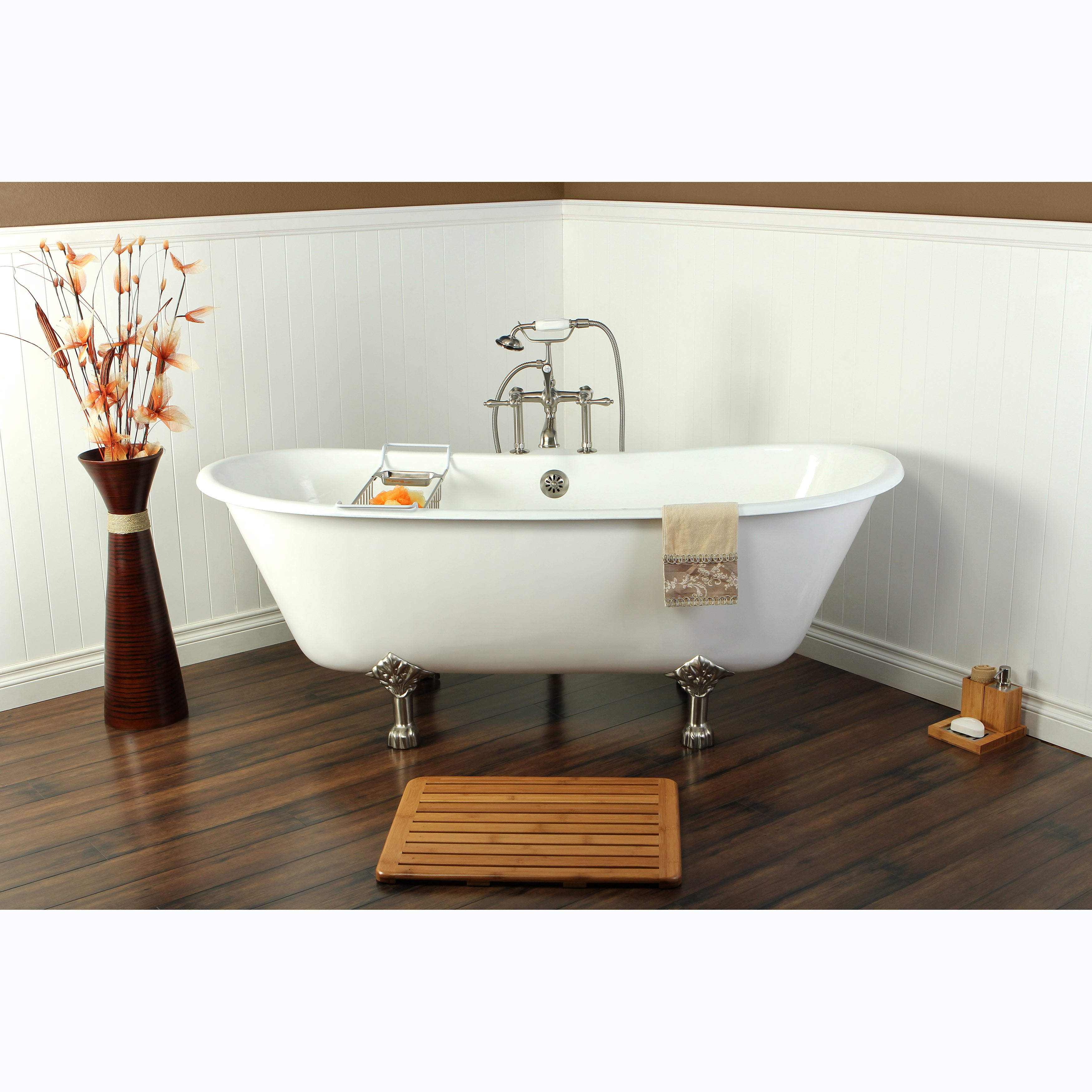 Shop 67-inch Cast Iron Double Slipper Clawfoot Bathtub - Free ...