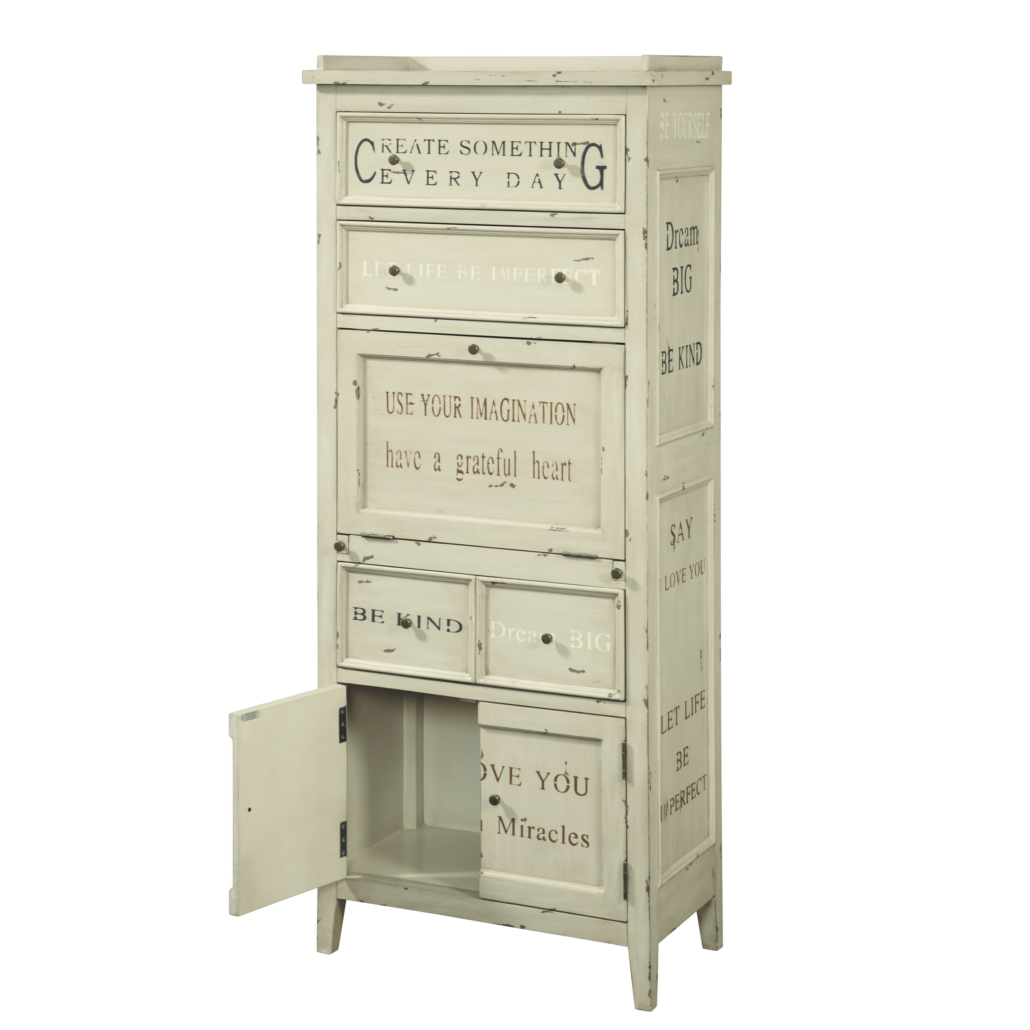 Hand Painted Distressed Antique Cream Finish Accent Storage Cabinet On Free Shipping Today 7731298