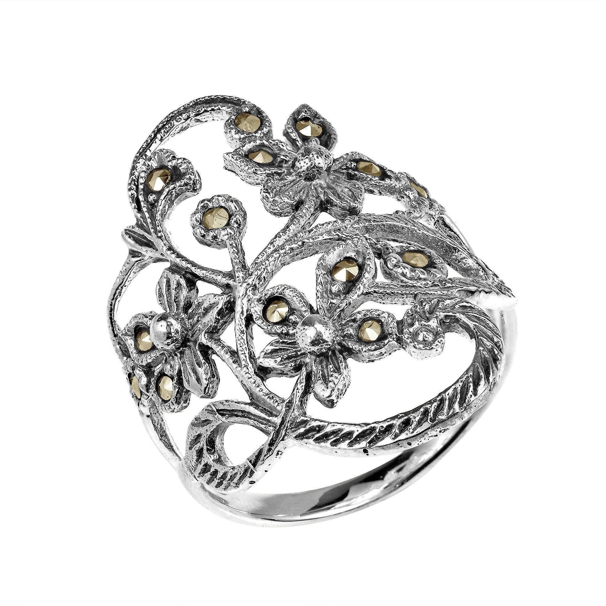 in feature this details crafted and products oxidized mr rings a featuring blossoms silver marcasite beautiful aeravida vine ornate of sterling flower vines the accented is tangle tendrils contrasts ring