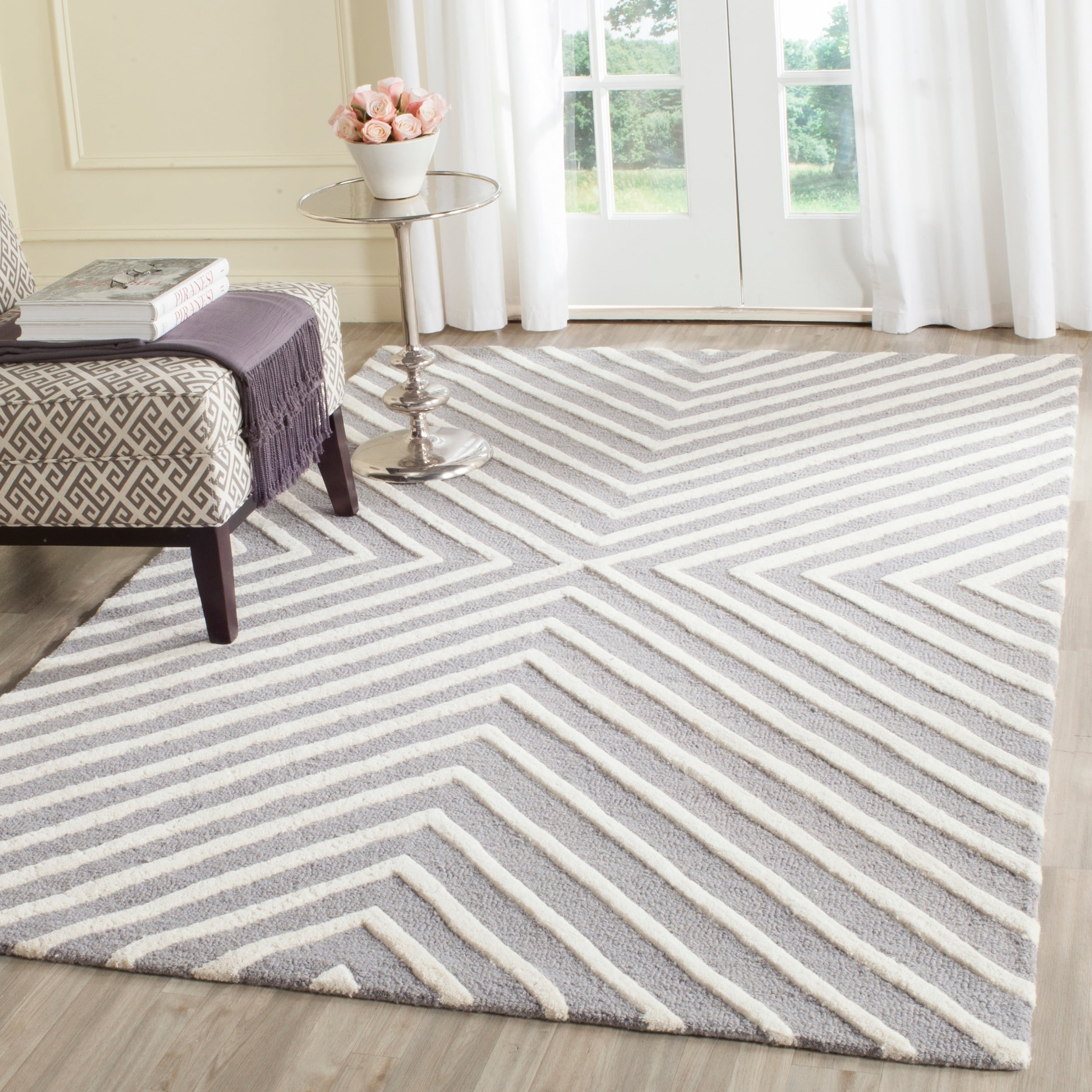 Safavieh Hand Tufted Can Cambridge Silver Ivory Wool Rug 8 X Square On Free Shipping Today Com 7748133