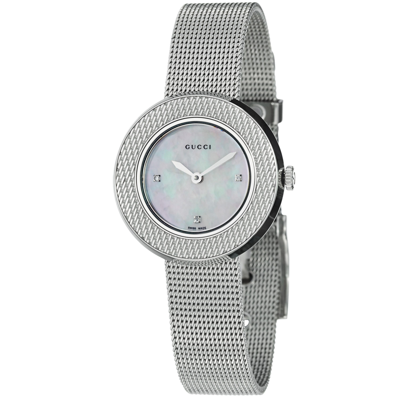36ba4be480c Shop Gucci Women s YA129517 U-Play  Diamond Stainless Steel Mesh Watch -  Free Shipping Today - Overstock - 7751159