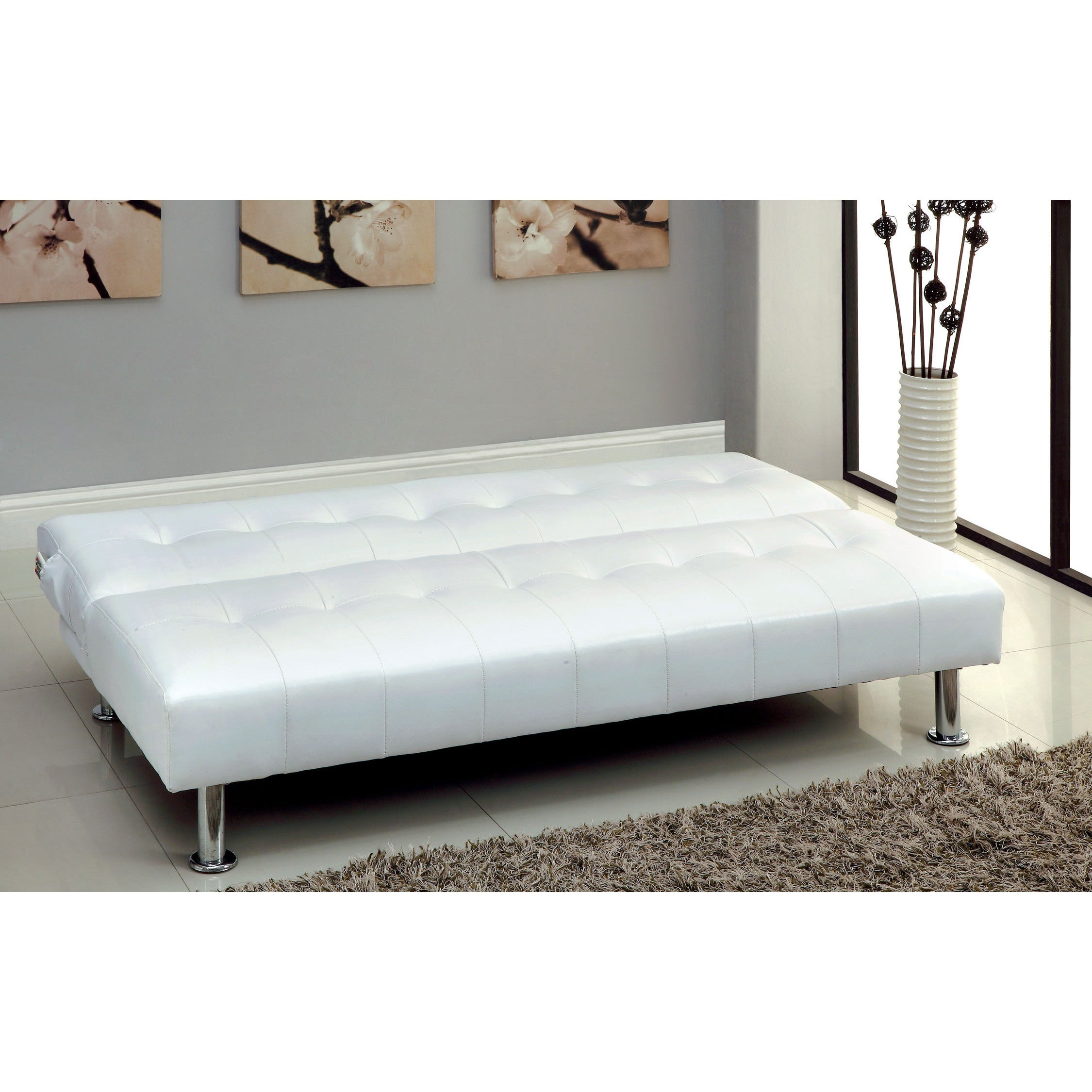 furniture of america modern tufted futon sofabed with storage pockets   free shipping today   overstock     15150509 furniture of america modern tufted futon sofabed with storage      rh   overstock