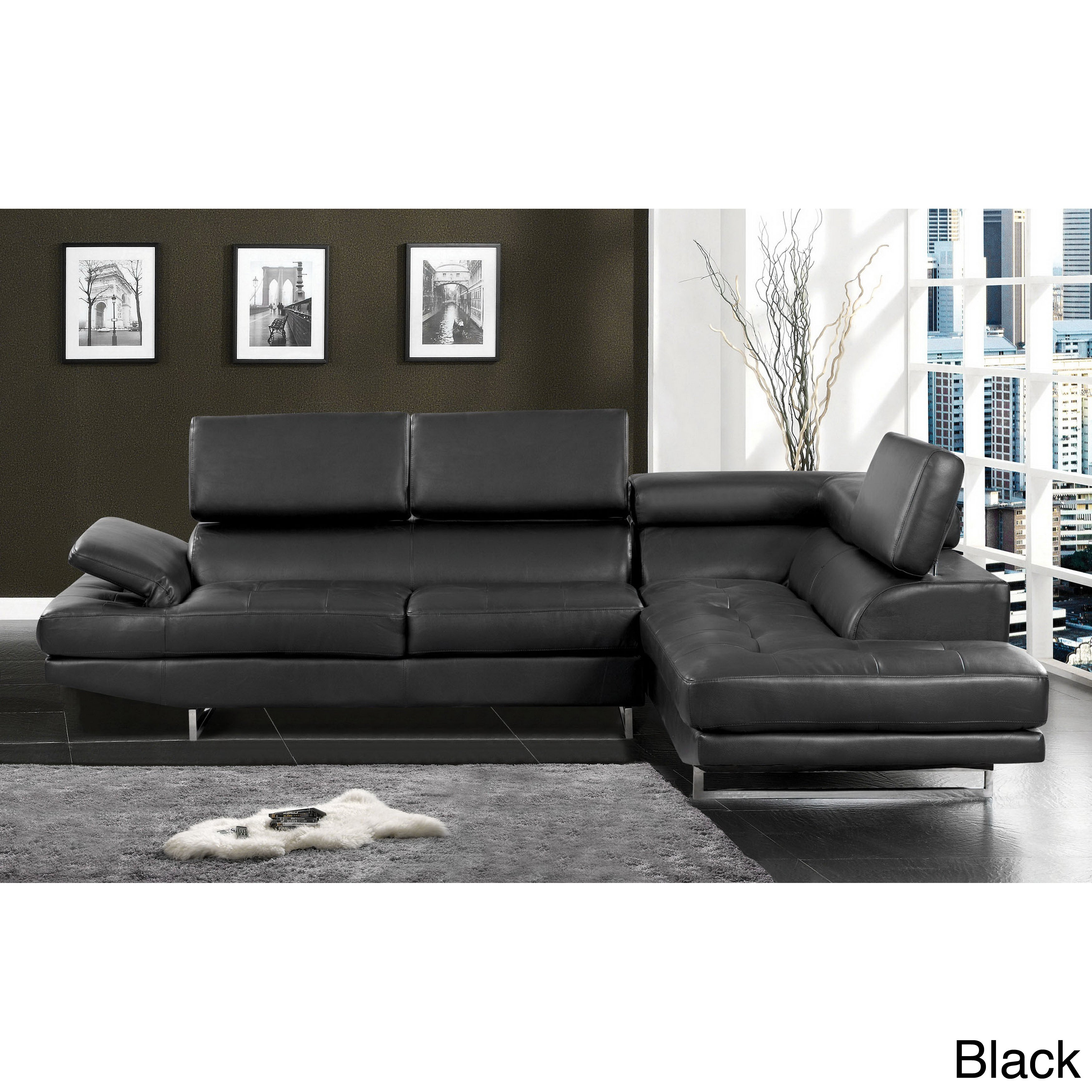 Shop Furniture Of America Contemporary 2 Piece Sectional With Adjustable  Headrest   On Sale   Free Shipping Today   Overstock.com   7754341