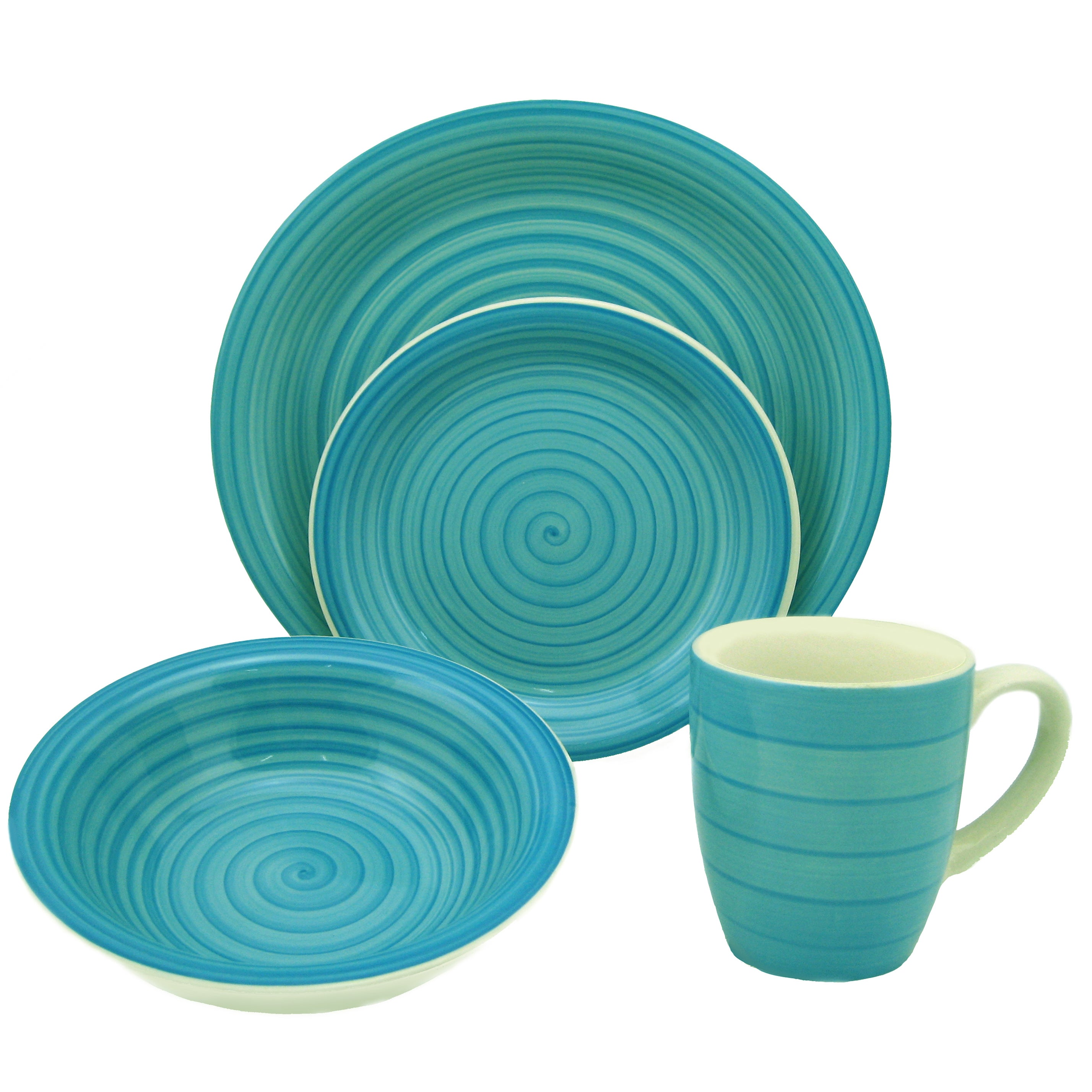 Shop Lorren Home Trend 16-piece Blue Swirl Stoneware Dinnerware Set - Free Shipping Today - Overstock.com - 7784390  sc 1 st  Overstock & Shop Lorren Home Trend 16-piece Blue Swirl Stoneware Dinnerware Set ...