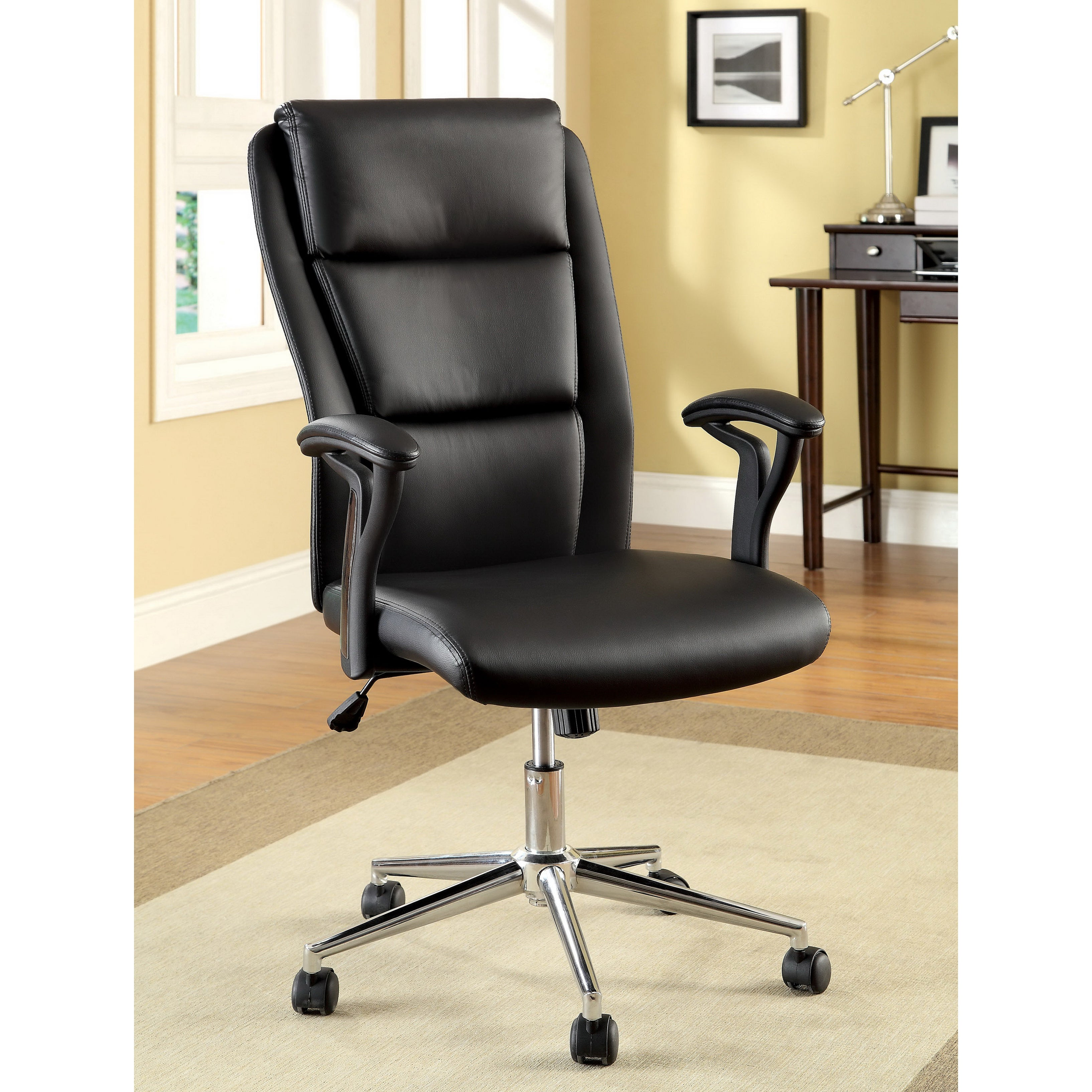 Shop Furniture Of America Classic Black High Back Leatherette Adjustable Office  Chair   Free Shipping Today   Overstock.com   7784394