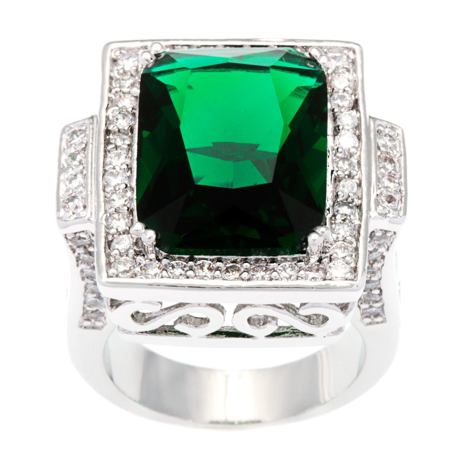 with pin cushion set diamond cut emerald a ring an and