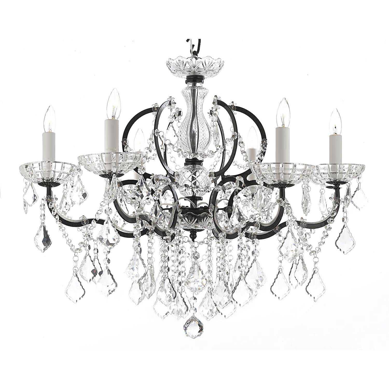 Gallery Rococo 19th C 6 light Black Wrought Iron and Crystal