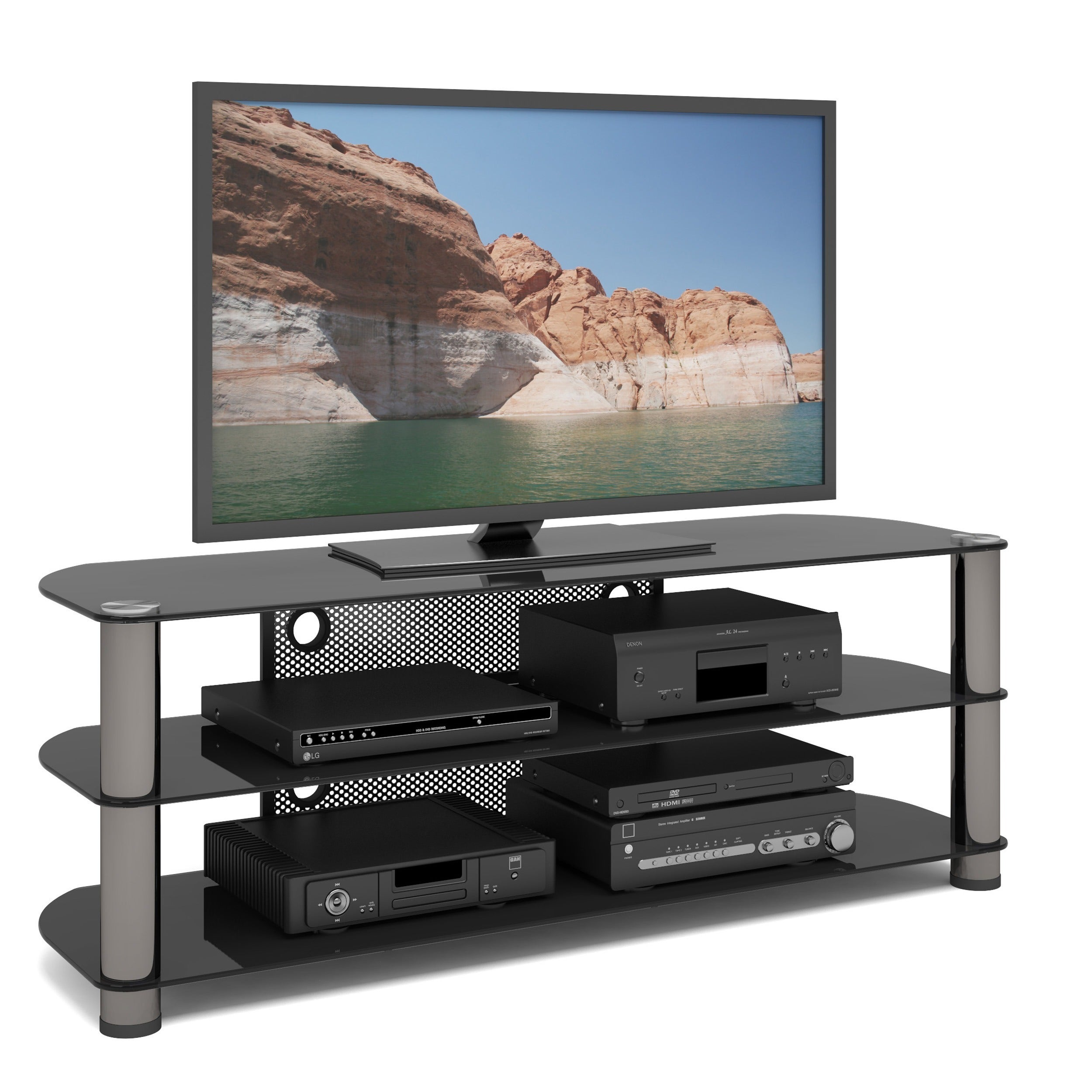 black glass pedestal furniture jelly tv stand entertainment reflections curved bean