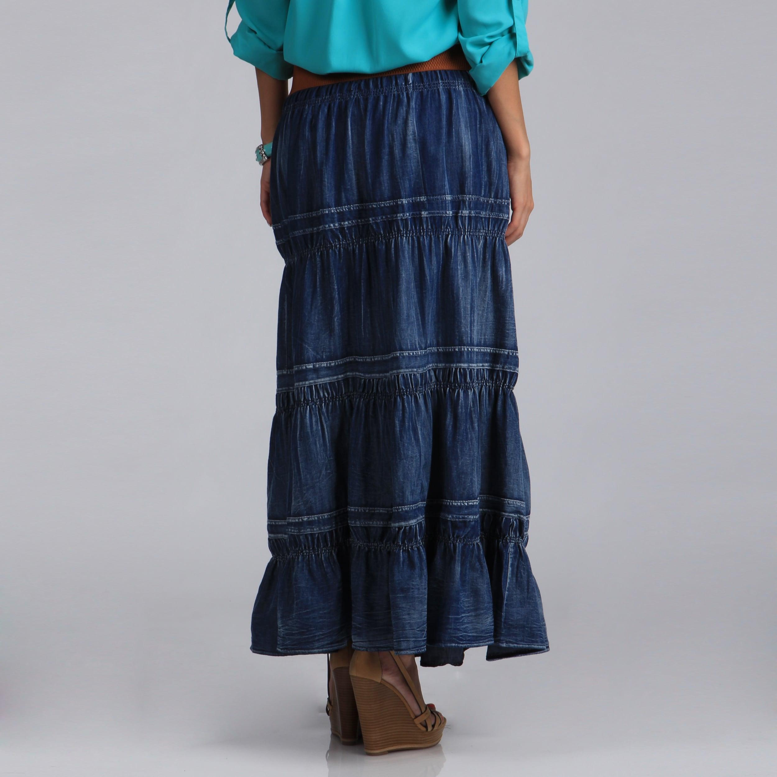 5a4835fc9 Shop Meetu Magic Women's Stonewash Denim Tiered Maxi Skirt - Free ...
