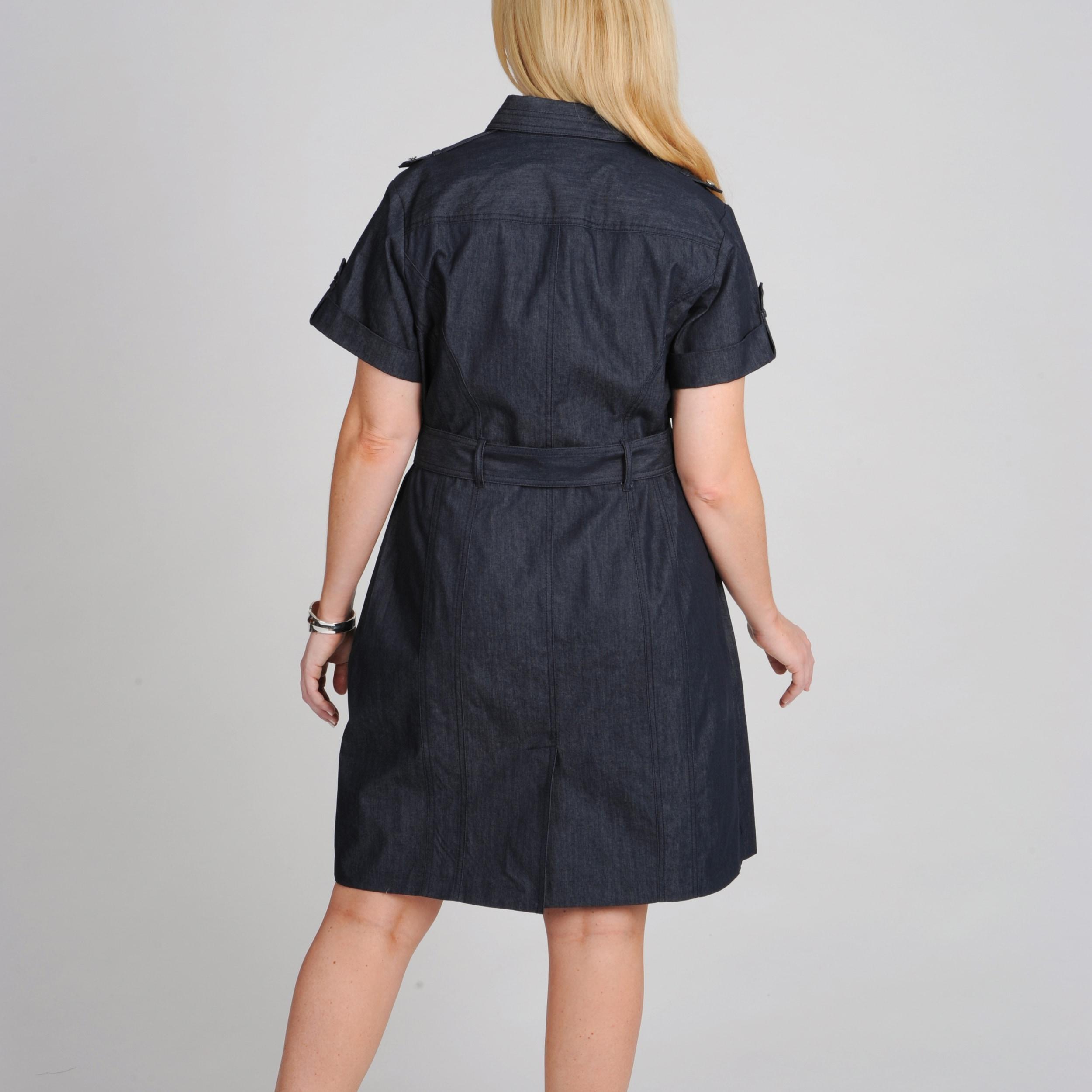 Shop Sharagano Womens Plus Size Belted Shirtdress Free Shipping