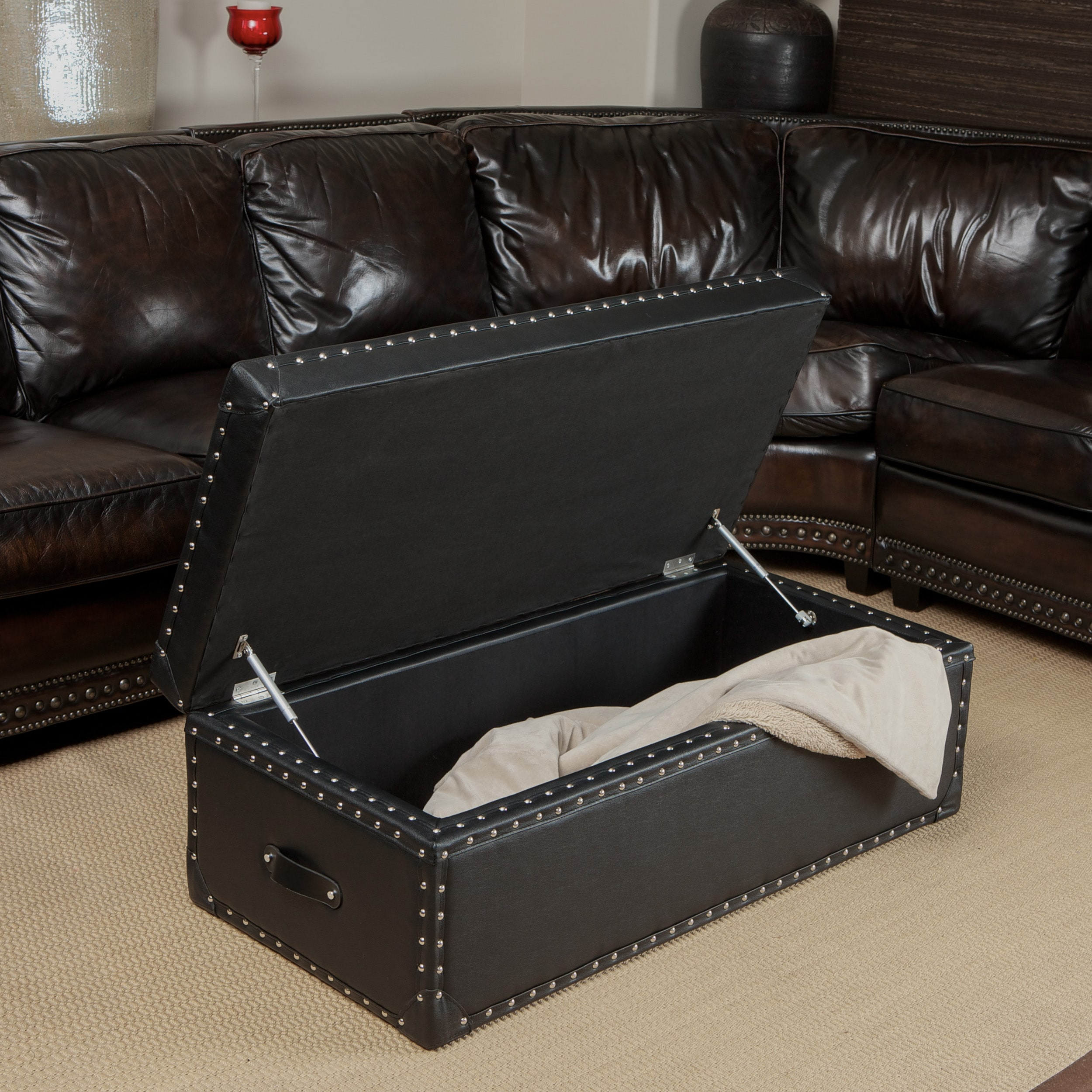 Shop Nino Leather Storage Trunk Ottoman By Christopher Knight Home   Free  Shipping Today   Overstock.com   7820780